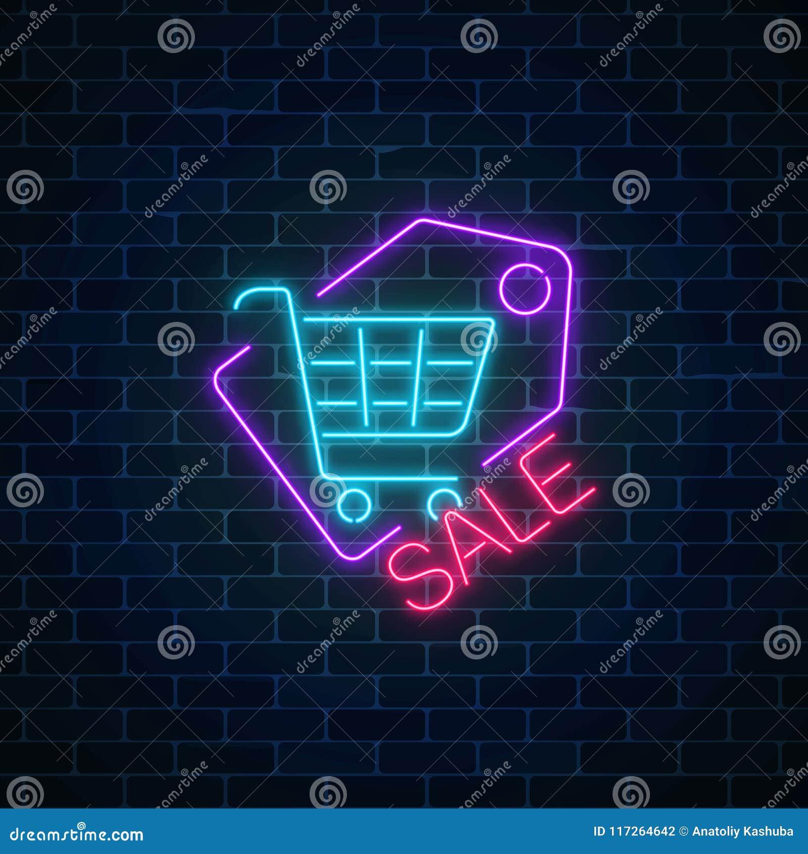 Neon A Accrocher Au Mur signe au néon de vente de supermarché avec le caddie dans l