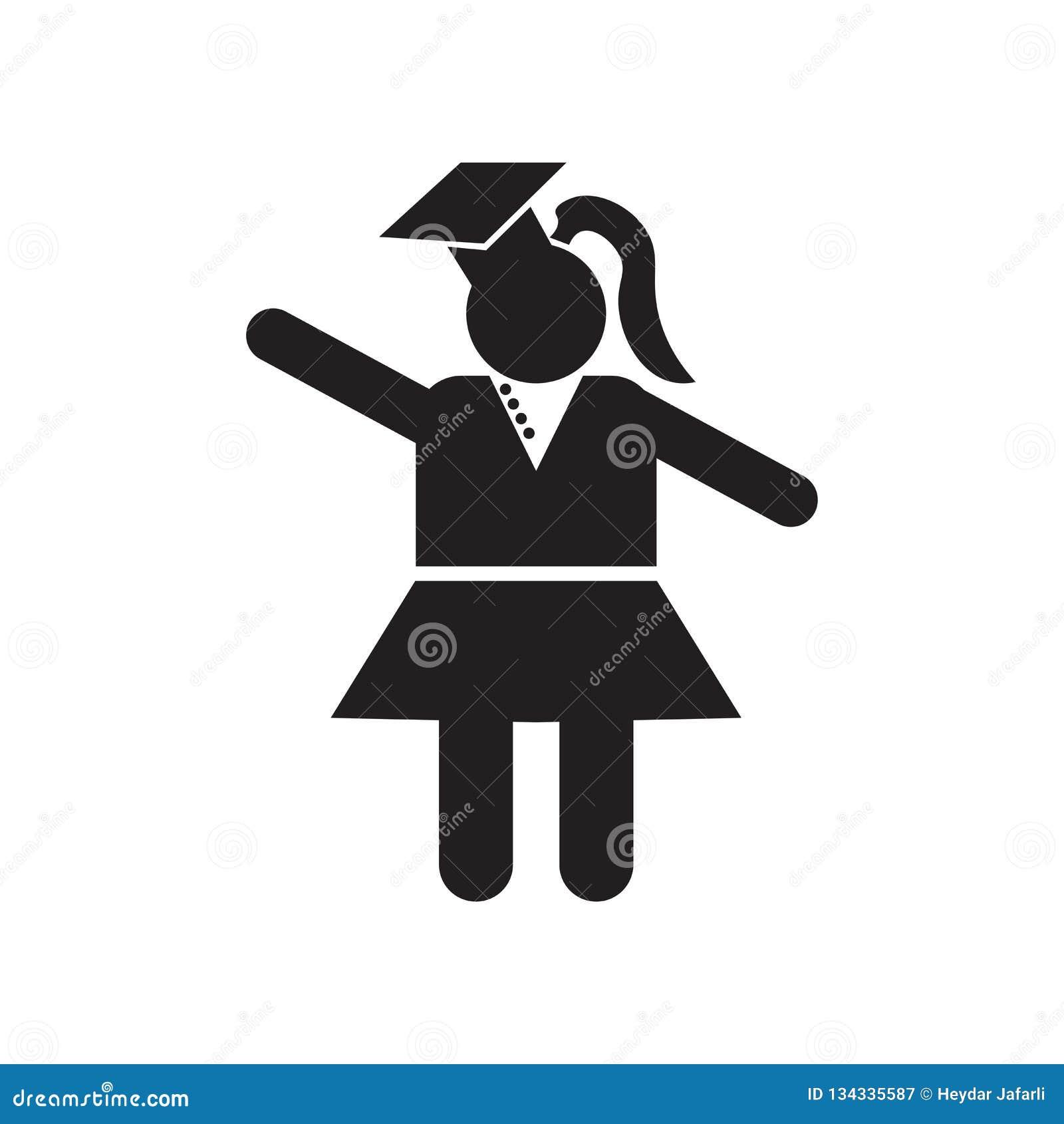 Signe avant et symbole de vecteur d icône de fille de chercheur d isolement sur le fond blanc, concept avant de logo de fille de