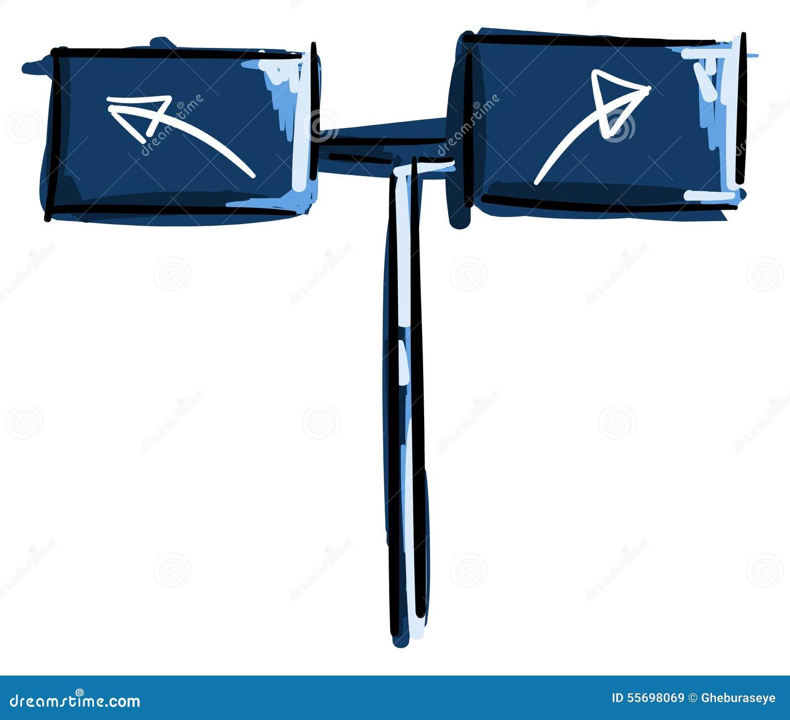 Signe avec des flèches dans le bleu