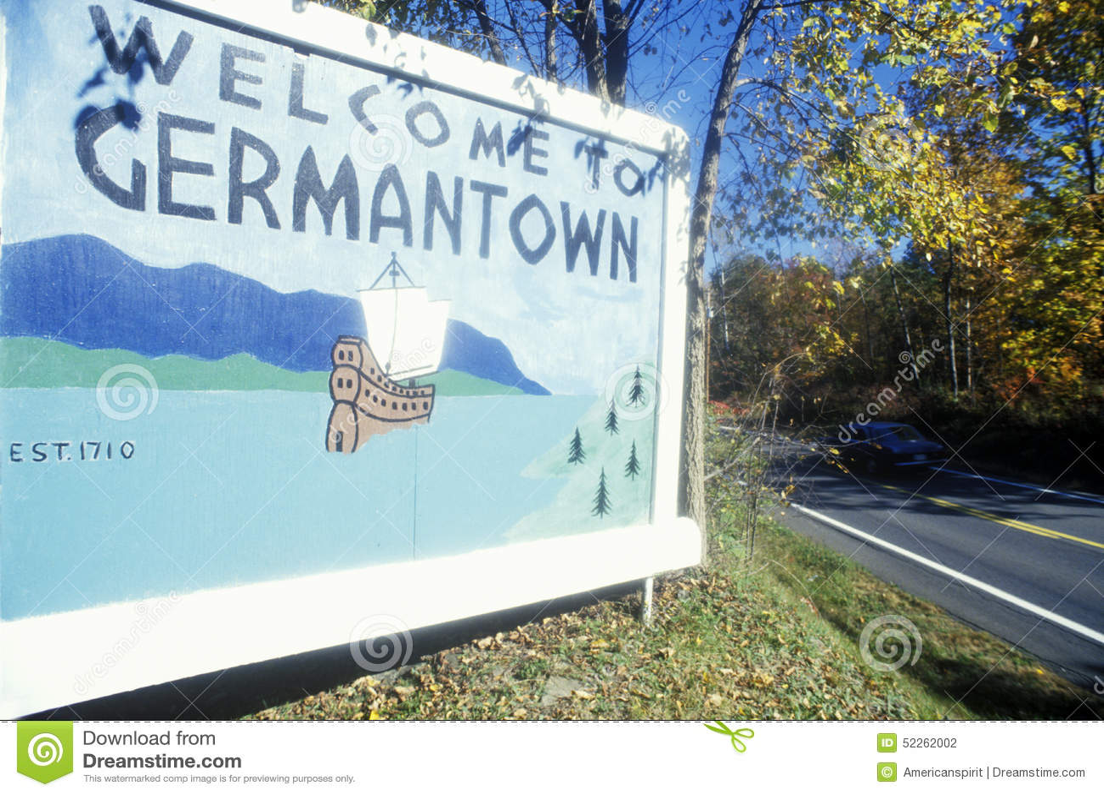 Signe bienvenu à l entrée vers Germantown, NY