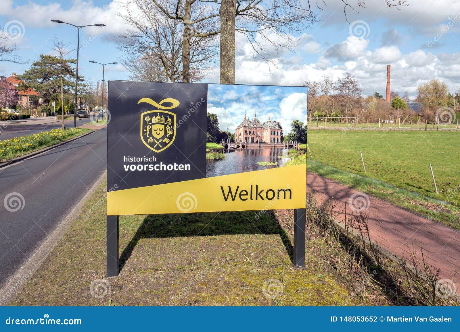 Signe bienvenu culturel de favoriser la culture dans Voorschoten, Pays-Bas