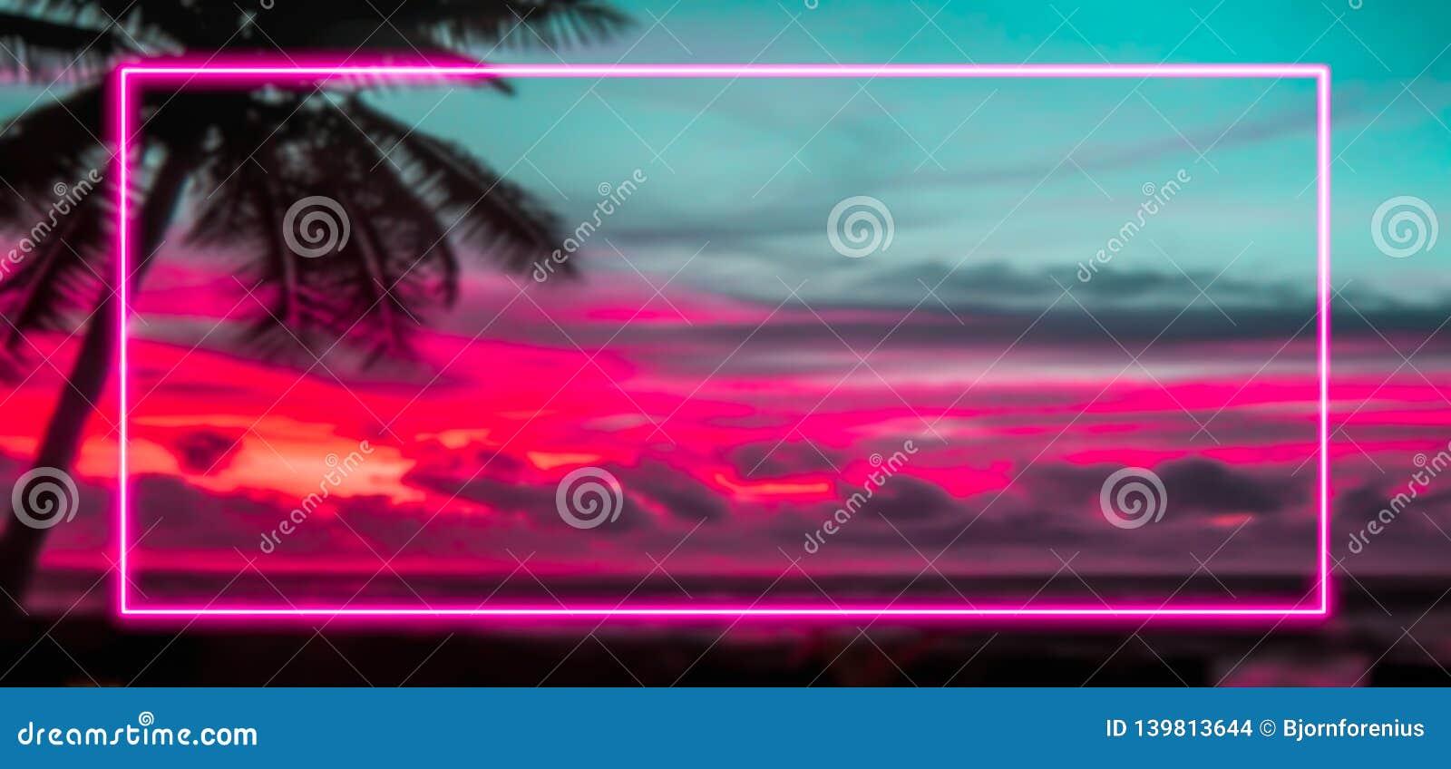 Signe coloré de vacances et de concept 80s avec le cadre rose de lampes au néon