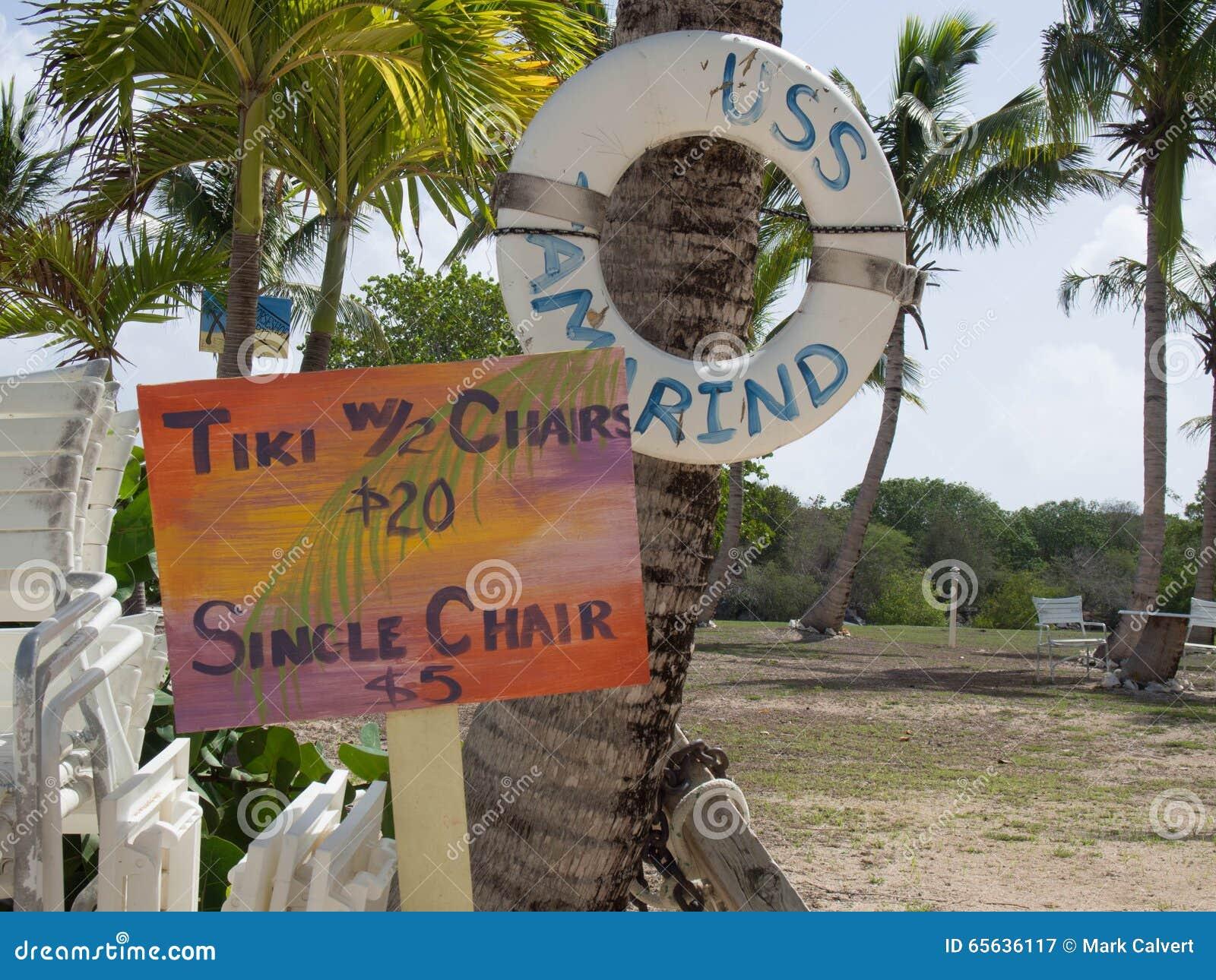 Signe coloré pour le prix d un Tiki et d une chaise sur une plage