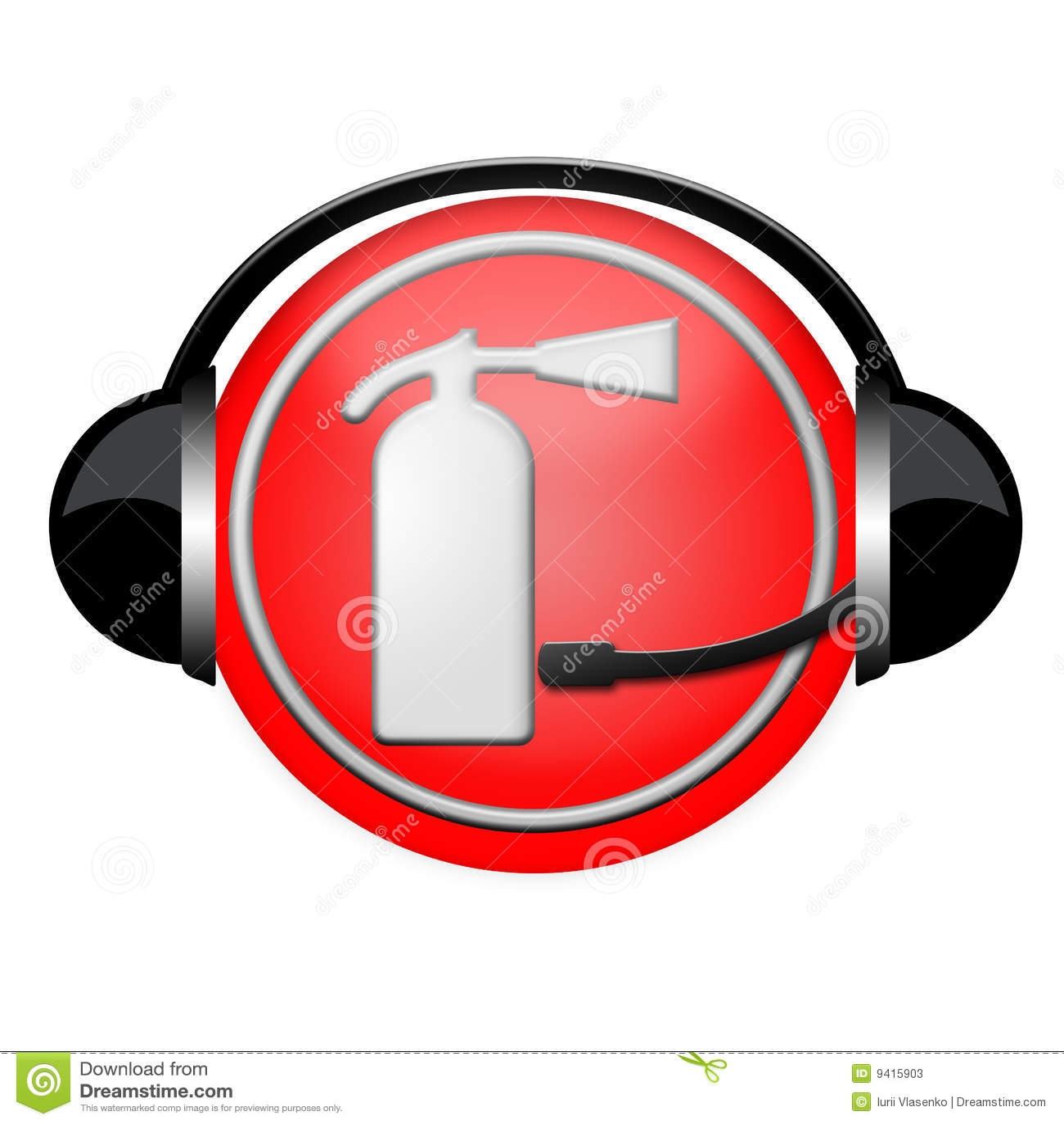 Signe d écouteur d incendie d extincteur de service