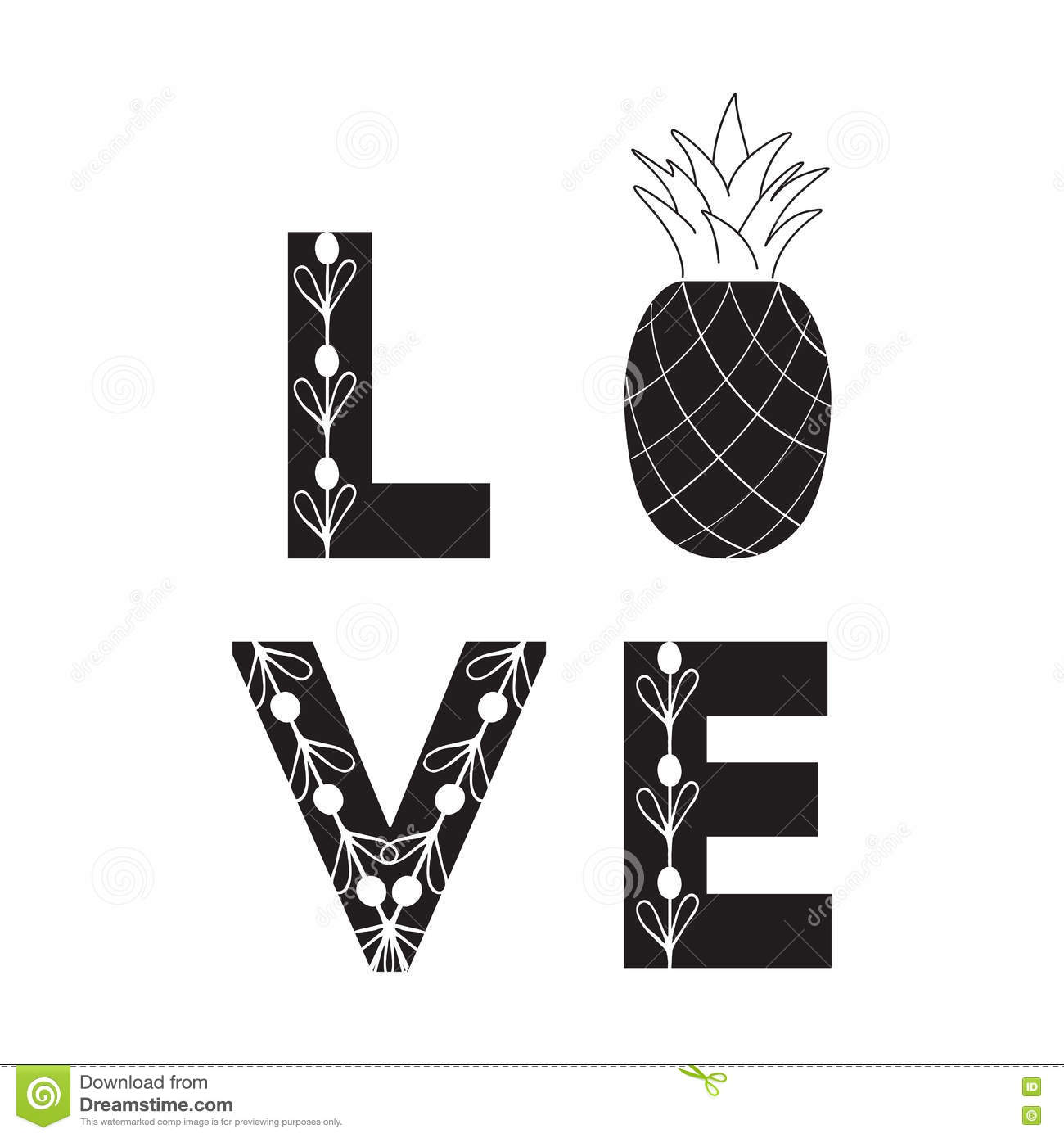 signe d 39 amour fruit abstrait guillemet ananas noir et blanc de symbole illustration de vecteur. Black Bedroom Furniture Sets. Home Design Ideas