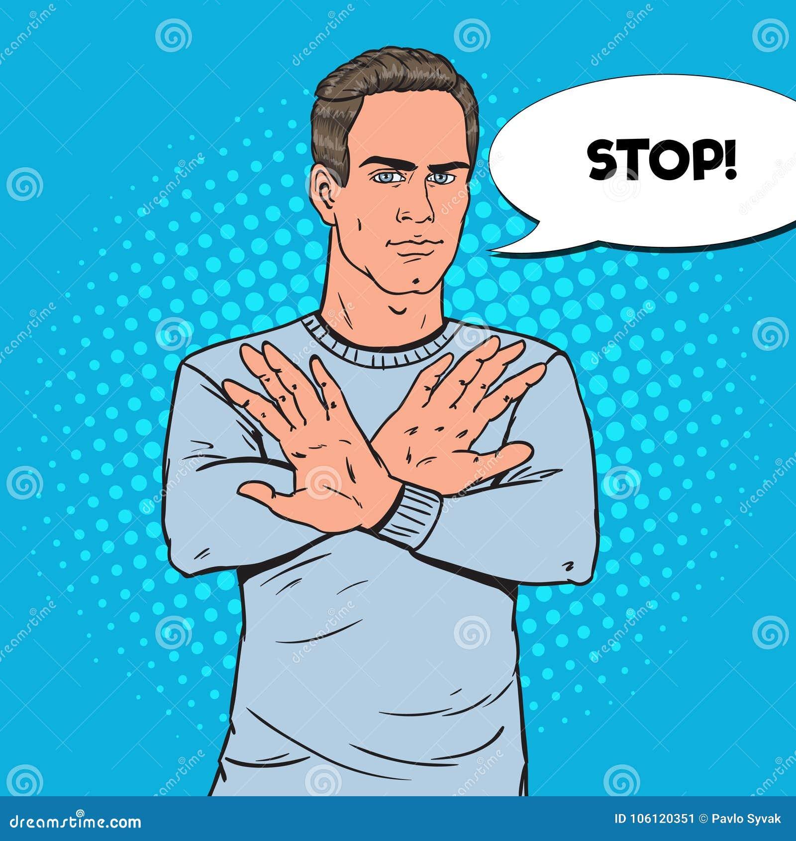 Signe d Art Man Gesturing Stop Hand de bruit Guy Refusing