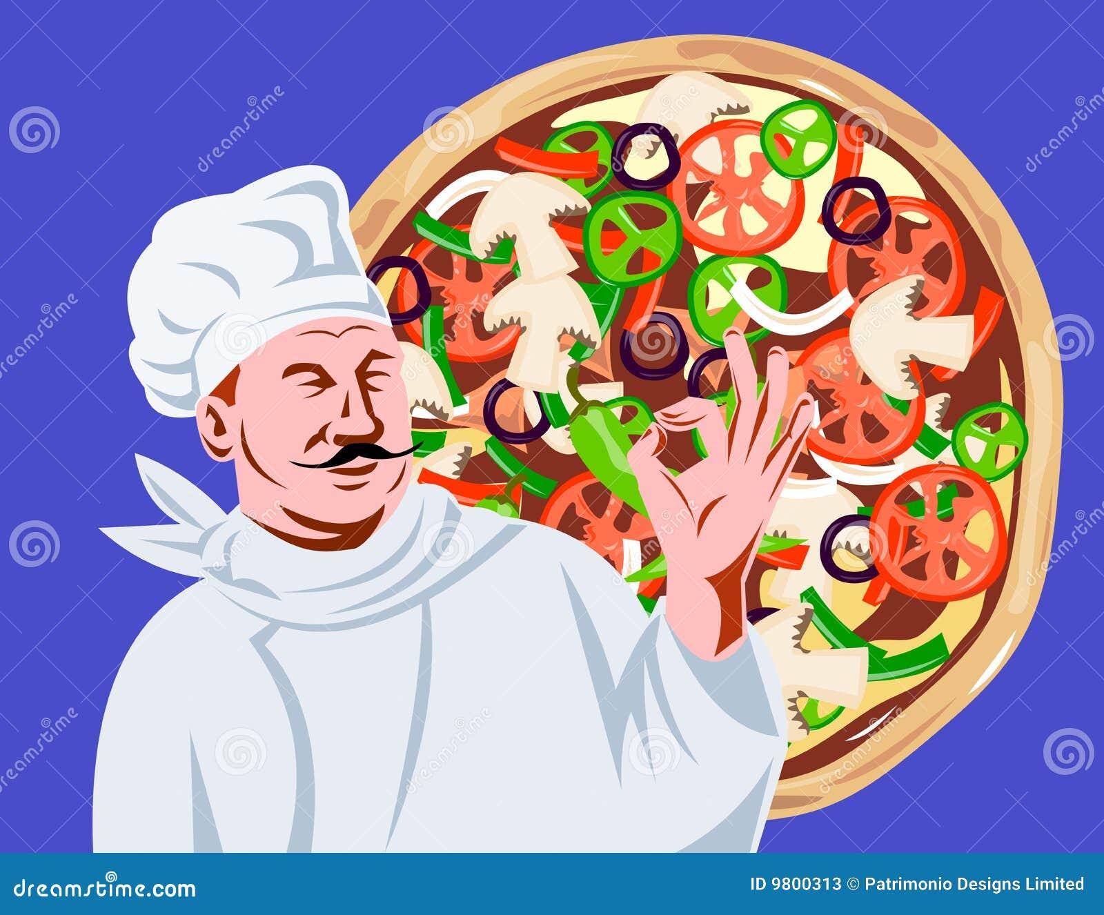 Signe d ok de cuisinier de chef avec la pizza