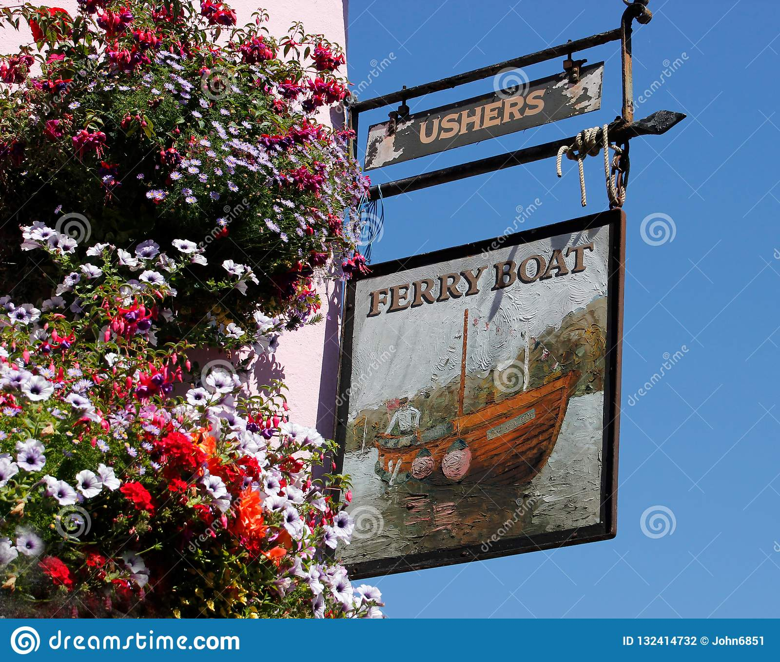 Signe de bar de l auberge de ferry-boat, Dittisham, Devon