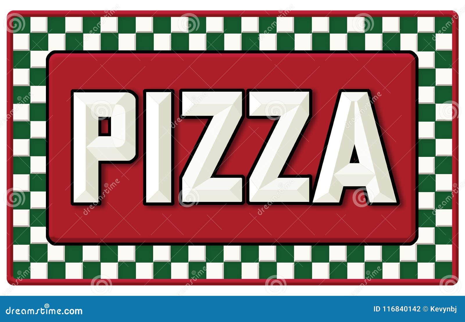 Signe de bidon de pizza de vintage