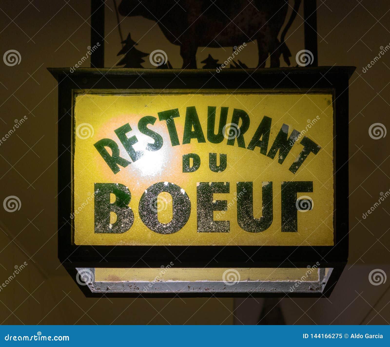 Signe de du boeuf de restaurant