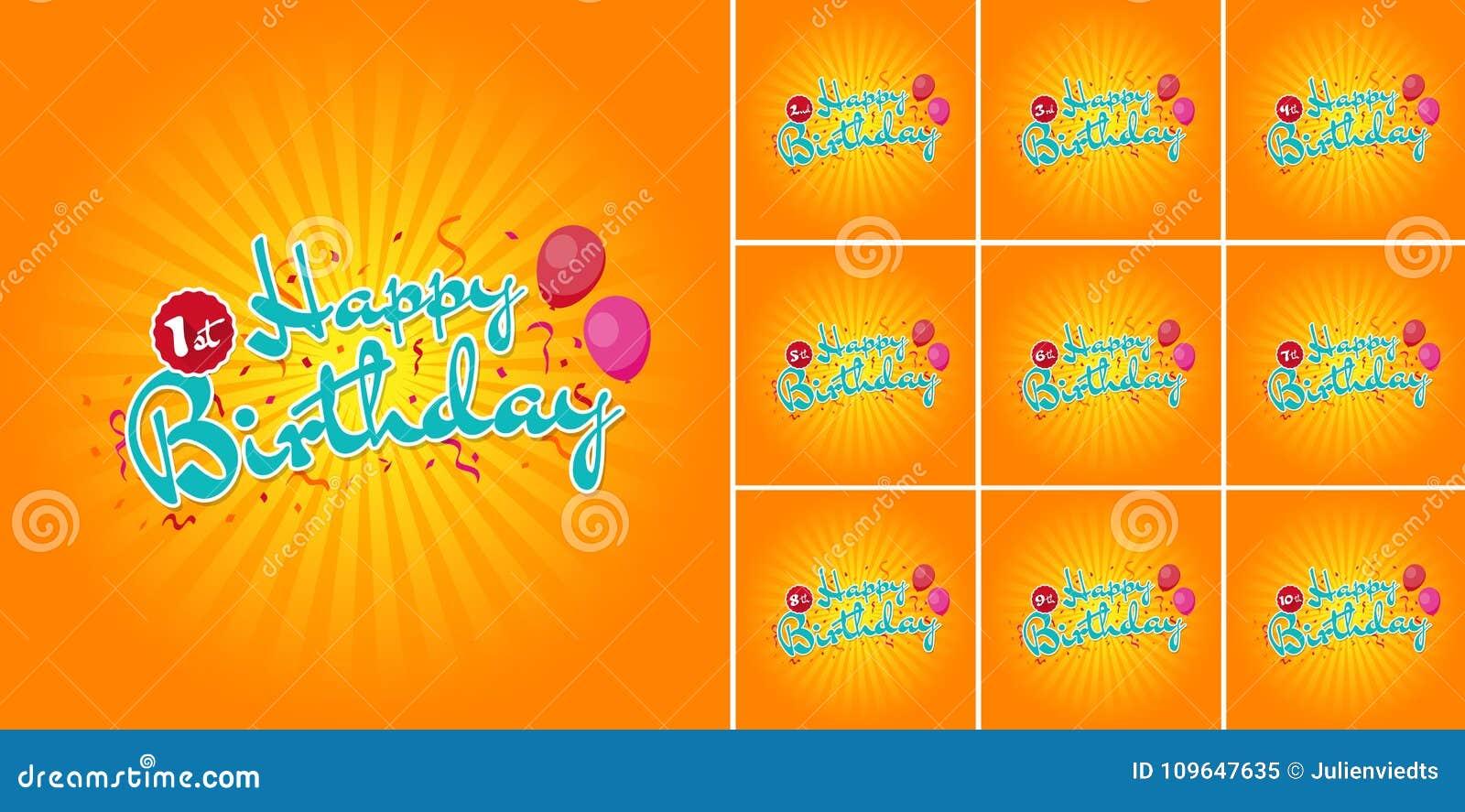Signe de joyeux anniversaire avec des ballons sur des 1ères - 10èmes années de confettis