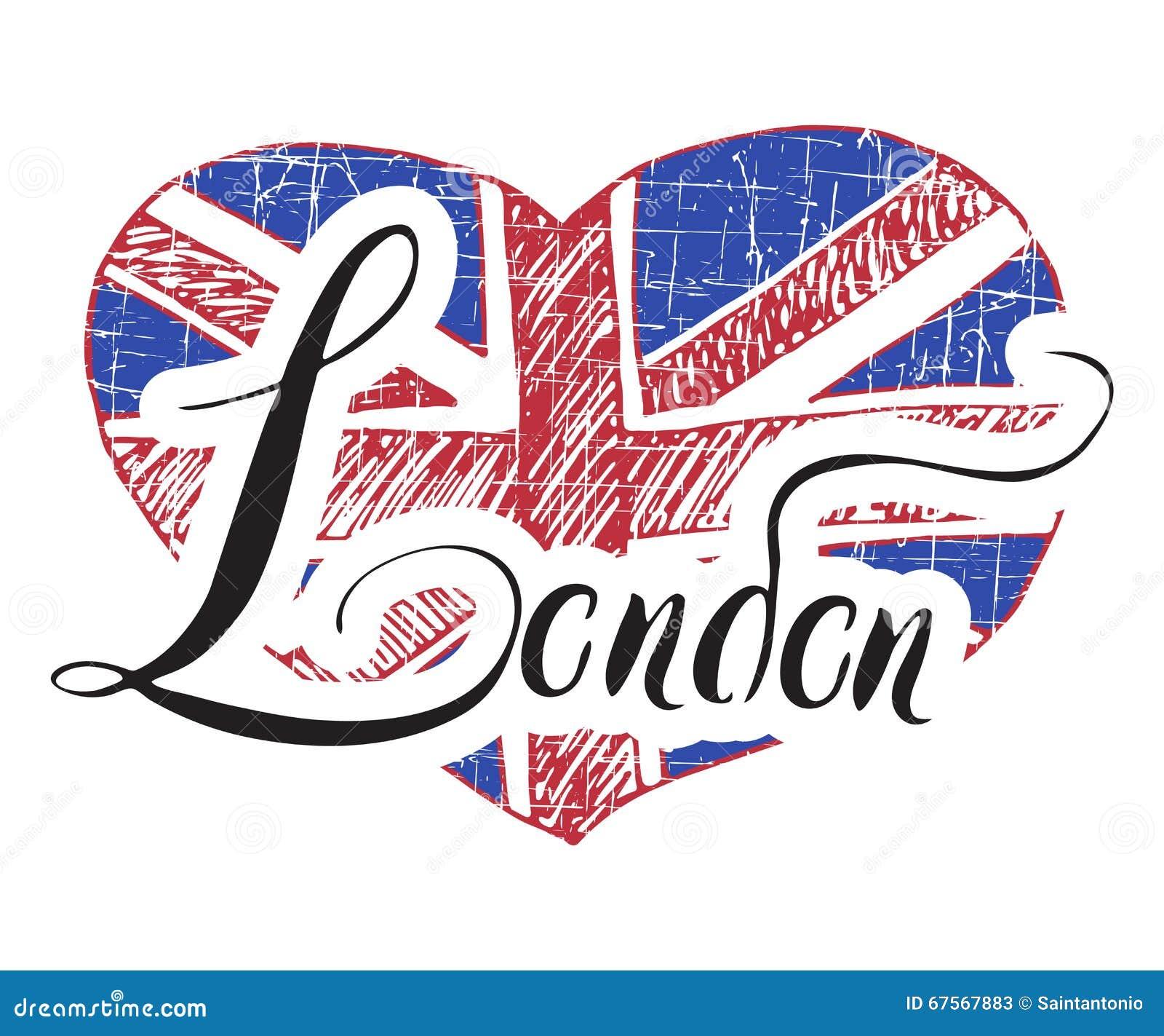 Signe de lettrage de main de londres avec le drapeau grunge du royaume uni dans la forme du - Drapeau royaume uni a colorier ...
