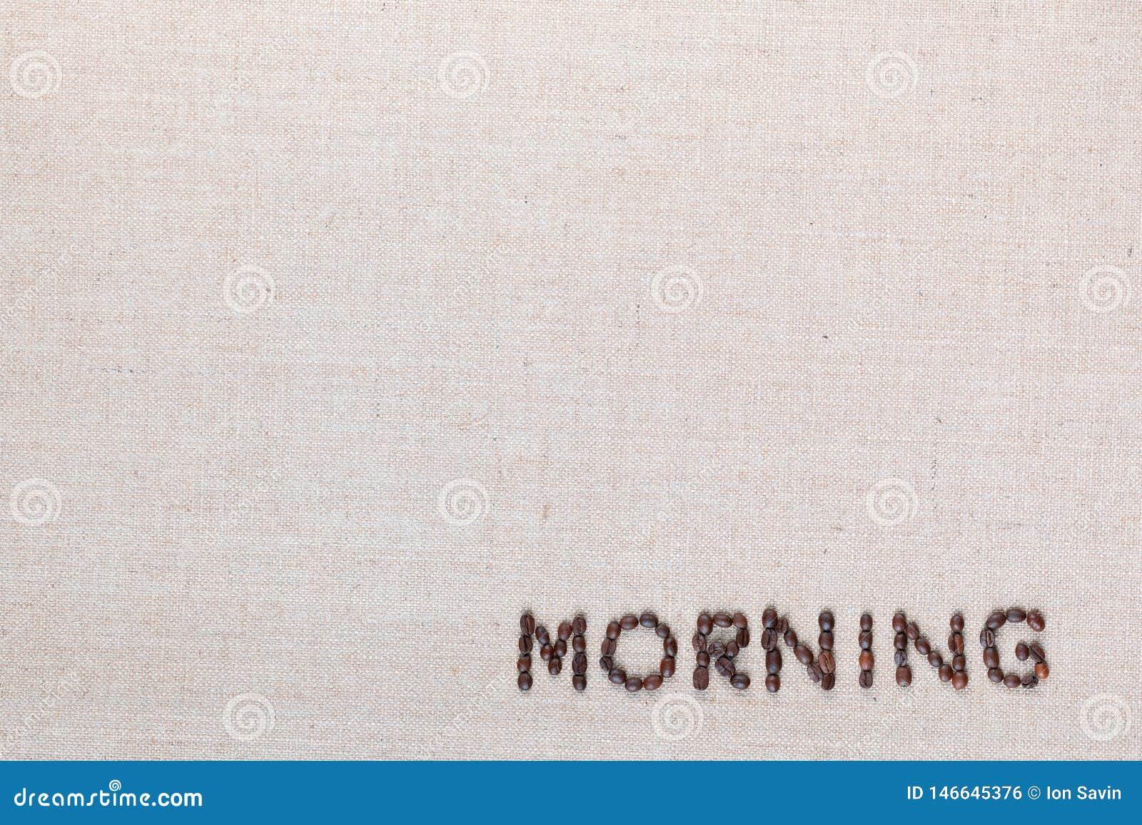Signe de lettre de matin des grains de café d isolement sur la texture de linea, alignée en bas à droite