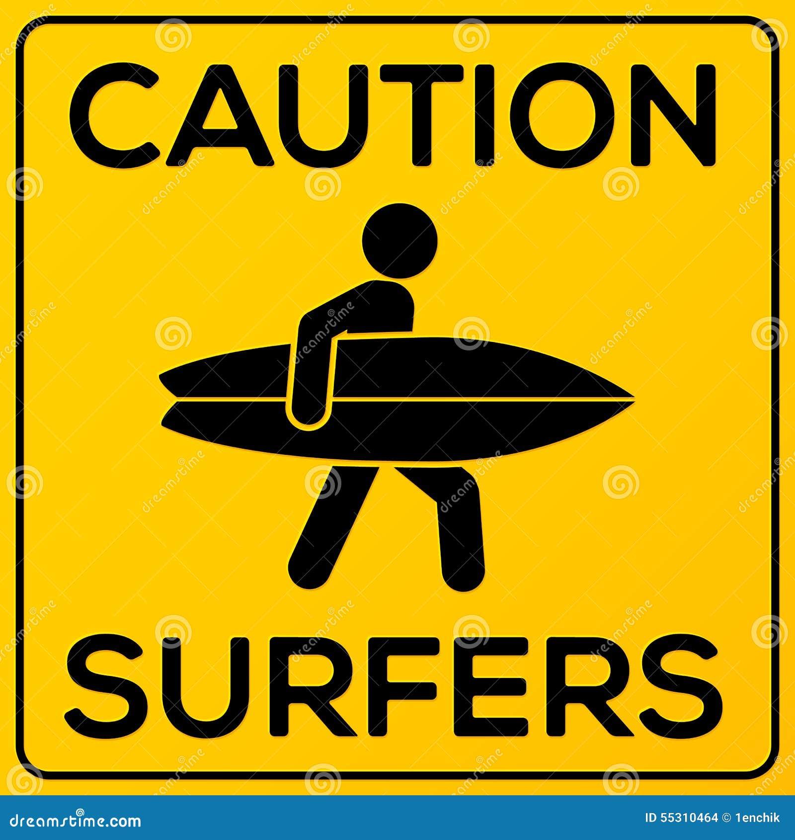 Signe de précaution de place jaune et noire avec le surfer
