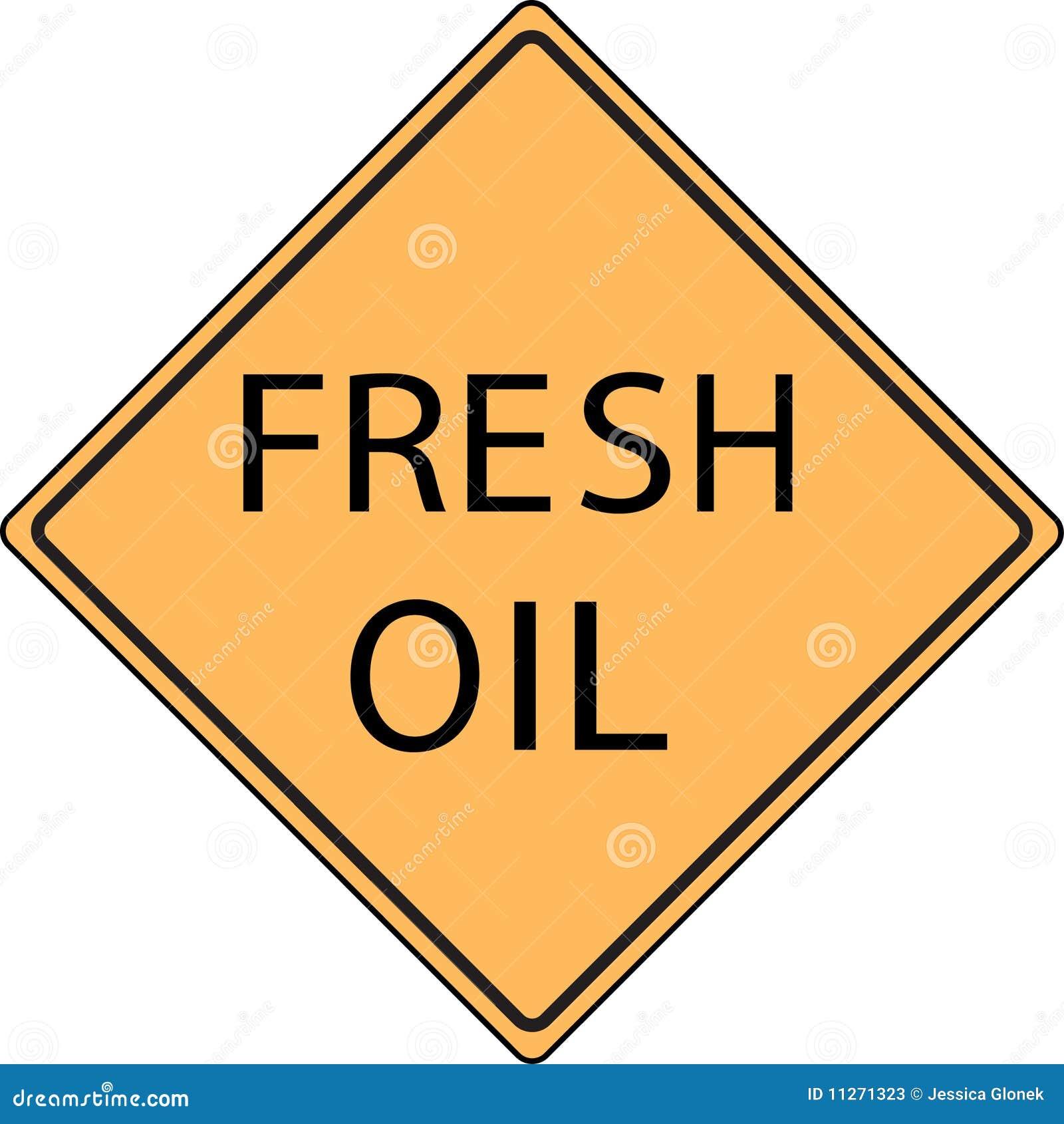 Signe de route frais orange de pétrole
