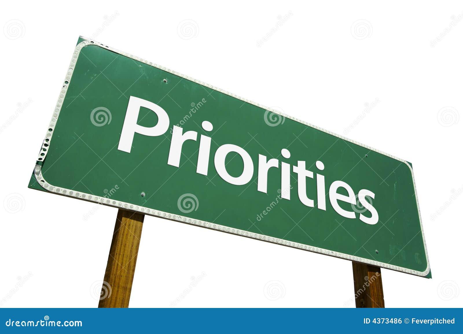 Signe de route prioritaires