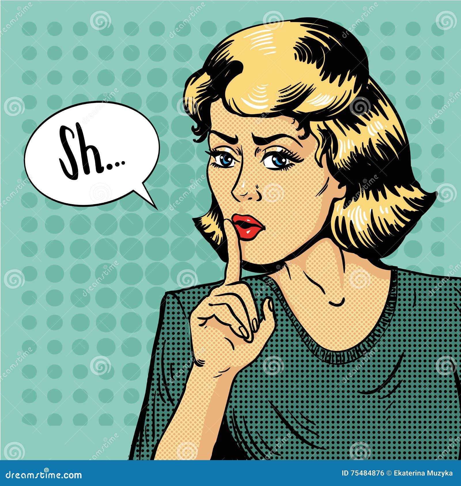 Signe de silence d exposition de femme Illustration de vecteur dans le rétro style d art de bruit Le message Shhh pour l arrêt pa