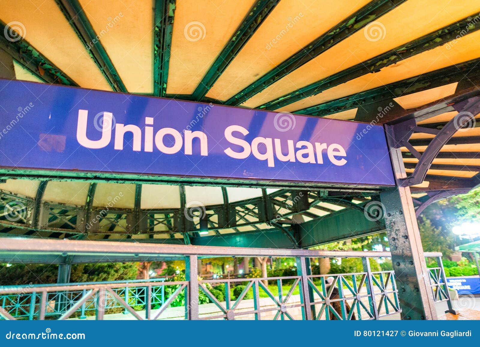 Signe de souterrain d Union Square la nuit à New York City