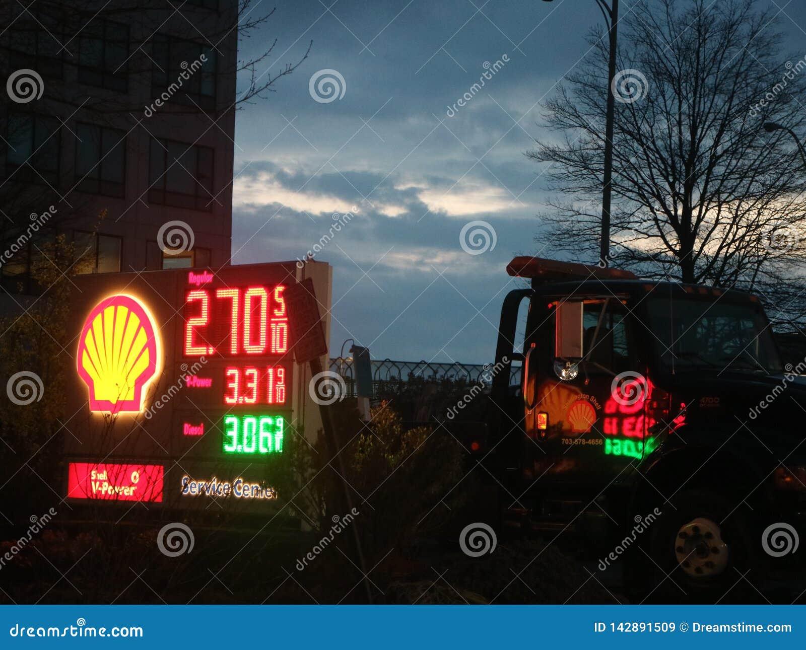 Signe de station service de Shell