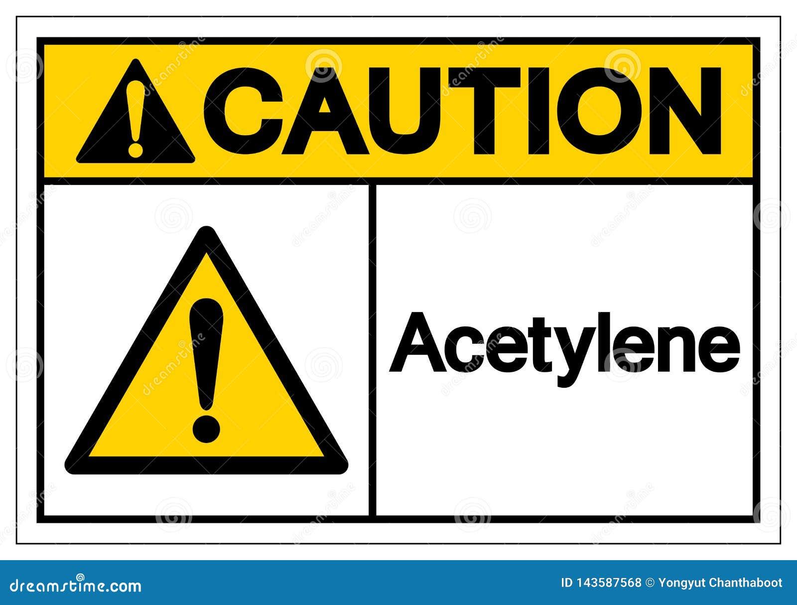 Signe de symbole d acétylène de précaution, illustration de vecteur, isolat sur le label blanc de fond EPS10