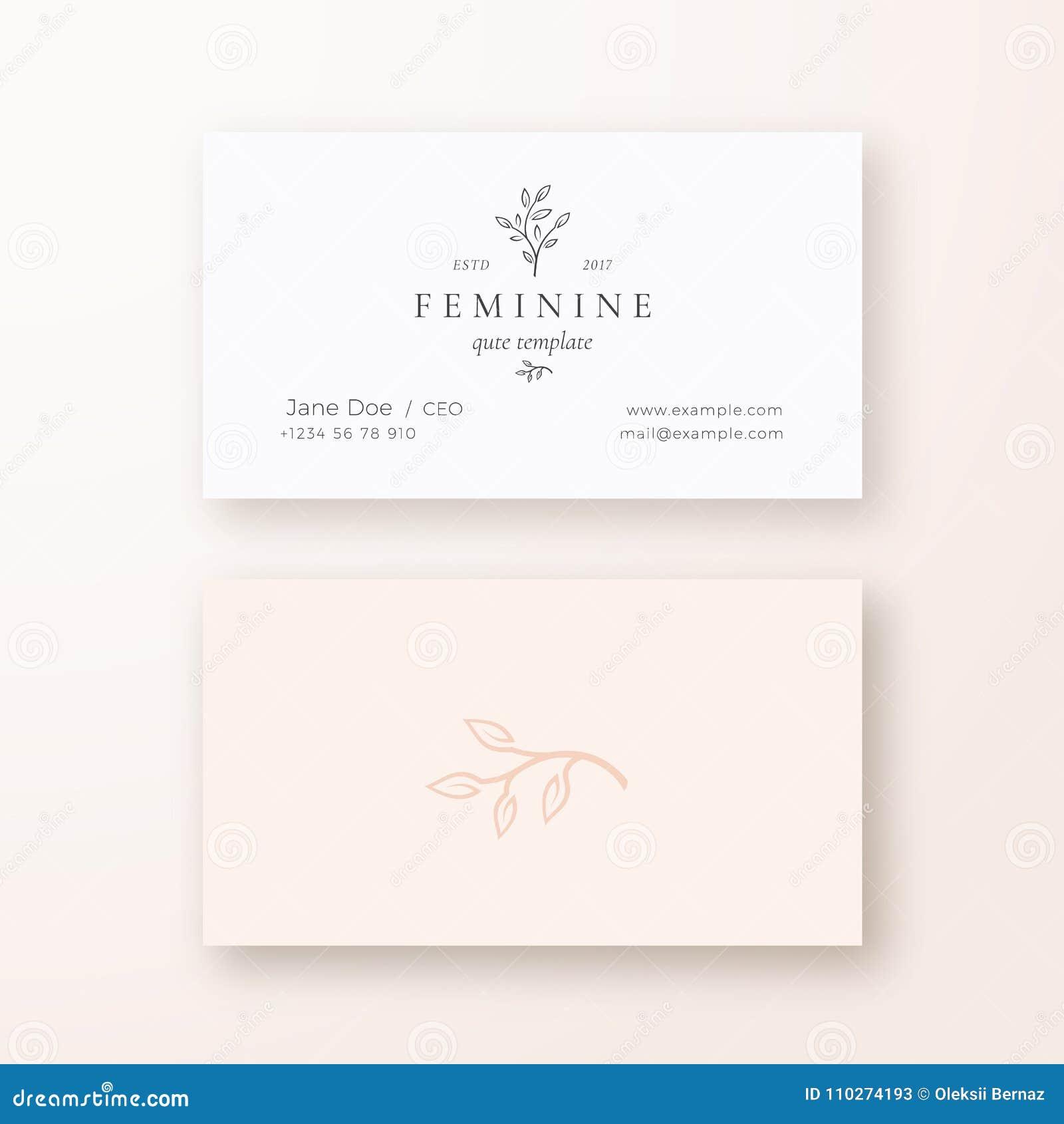 Signe De Vecteur Branche Feuille Ou Calibre Fminins Abstraits Carte Visite Professionnelle