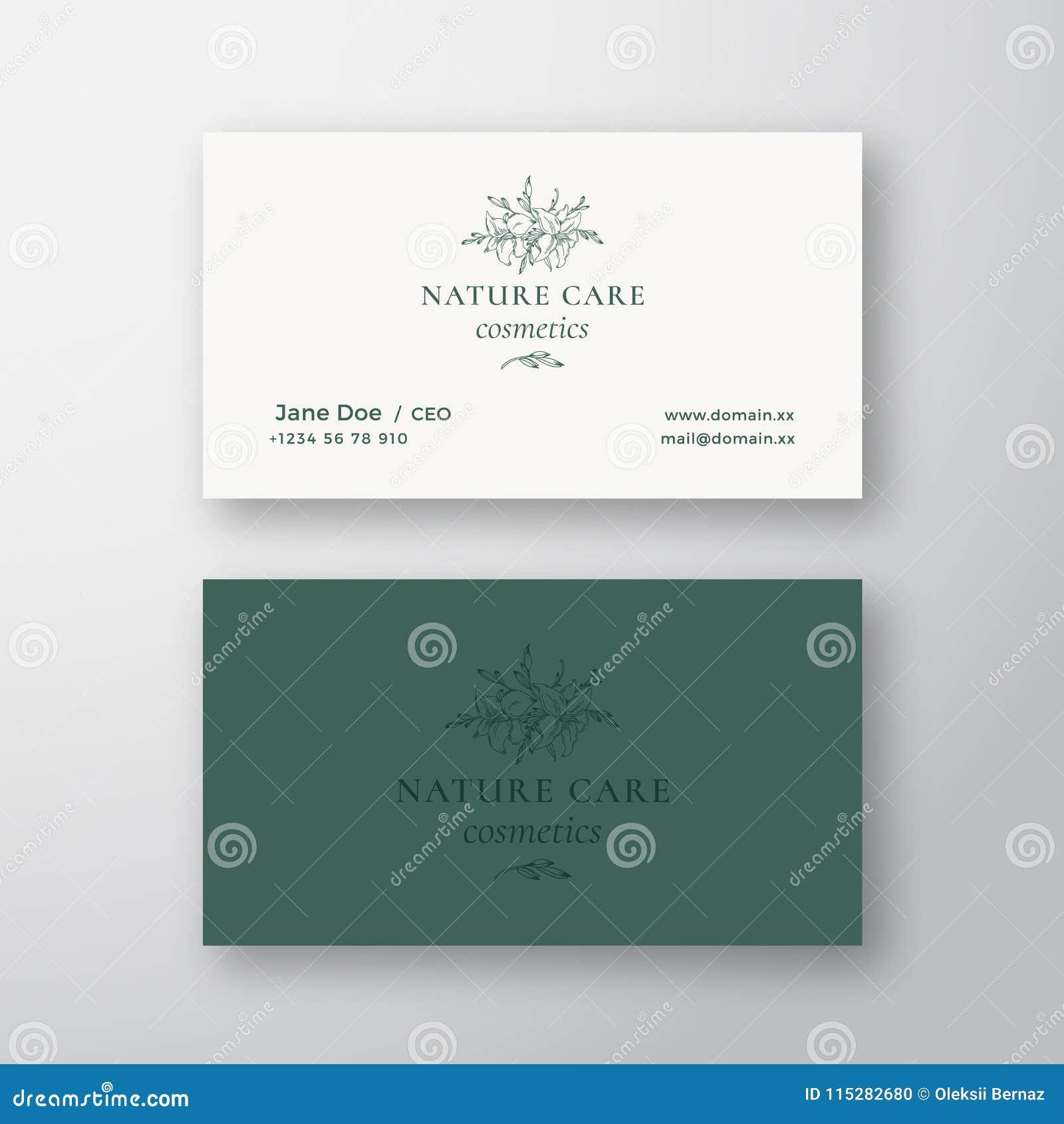 Signe De Vecteur Cosmetiques Soin Nature Ou Calibre Carte Visite Professionnelle
