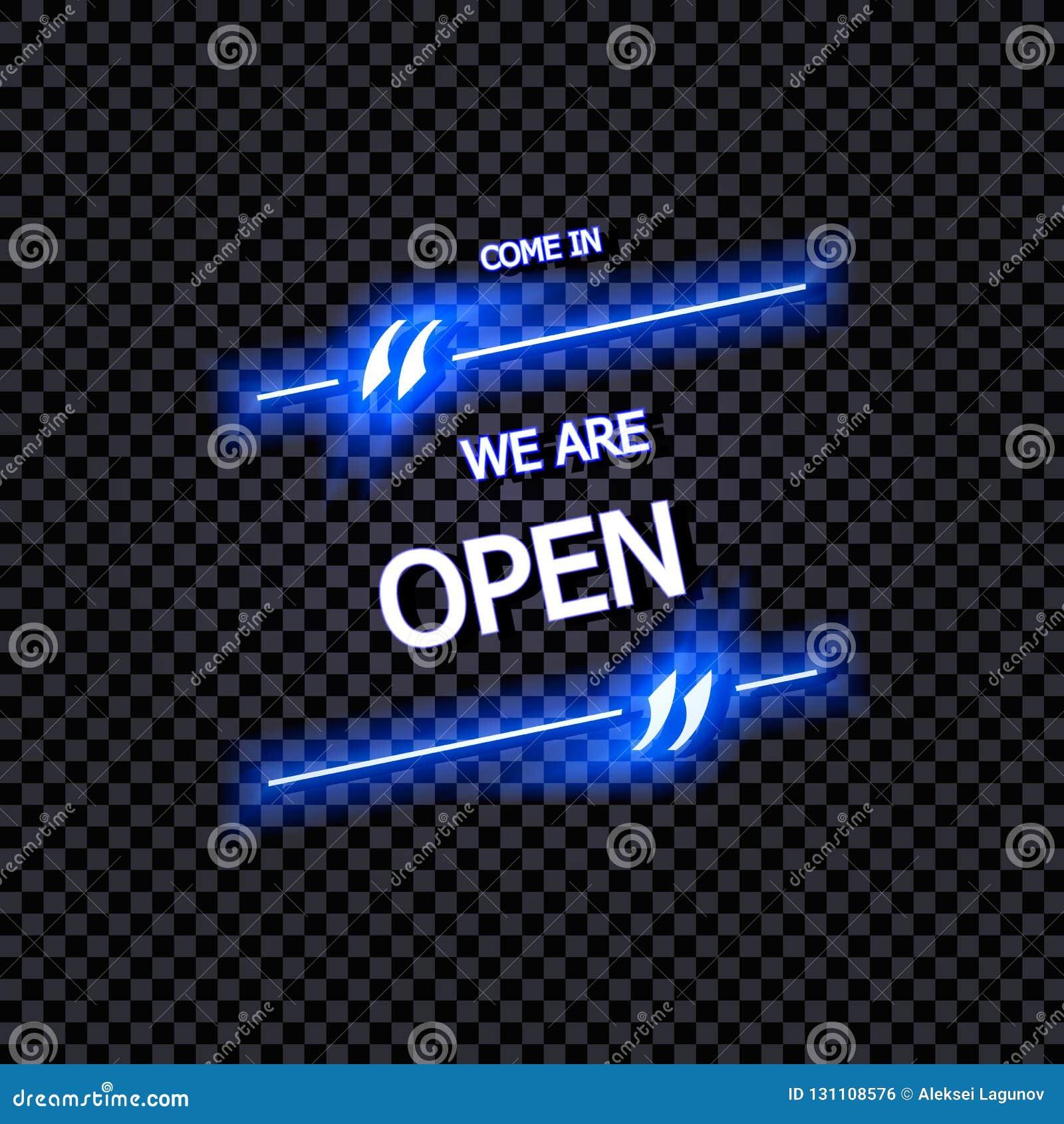 Signe de vecteur : Entrés, nous sommes lettrage au néon ouvert et rougeoyant, d isolement sur le fond transparent