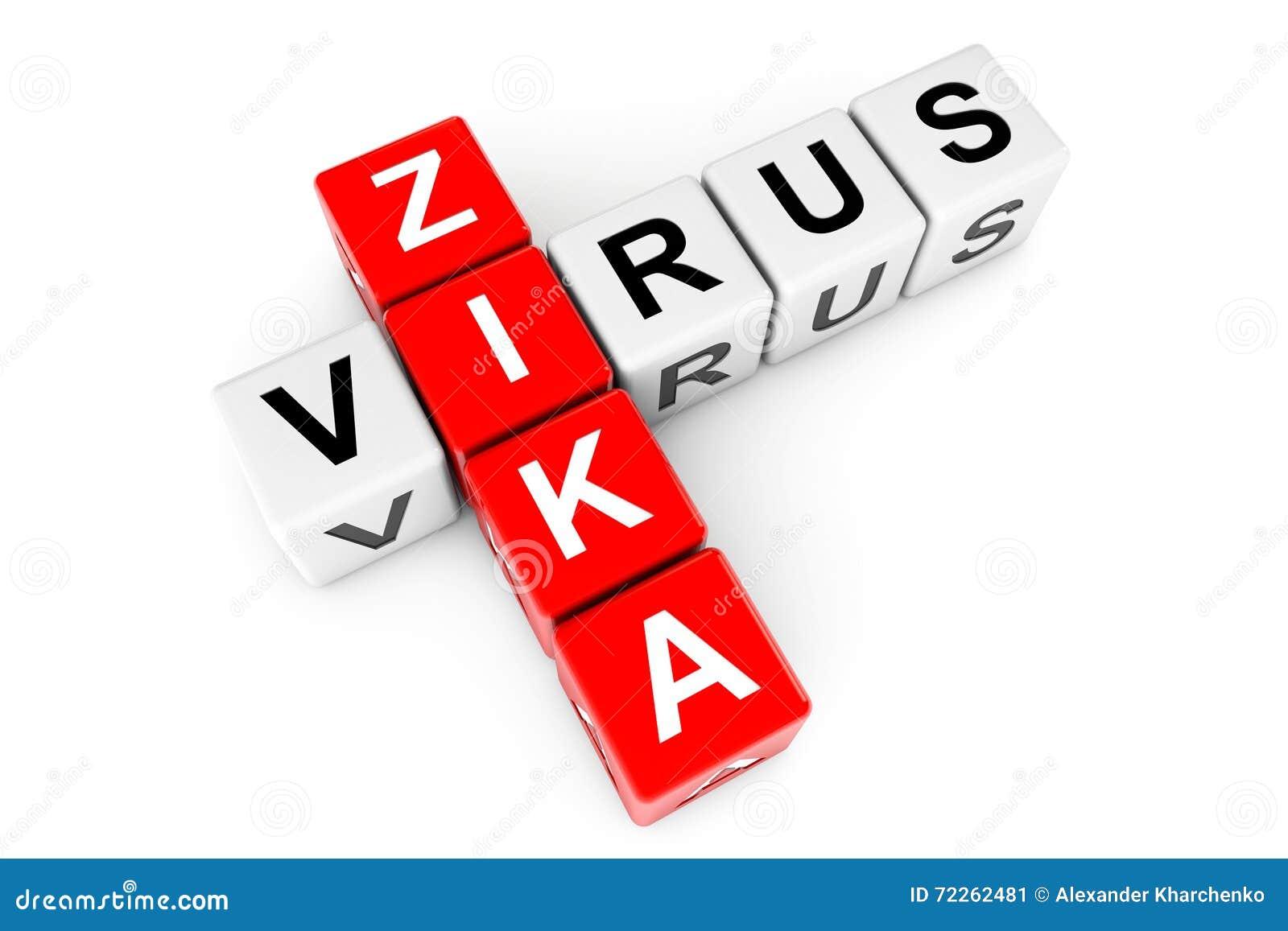 Signe de virus de Zika comme blocs de mots croisé rendu 3d