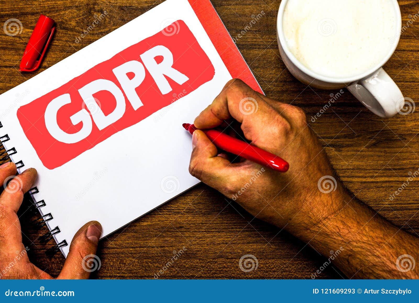 Signe des textes montrant GDPR Bloc-notes rouge de stylo de photo de protection des données d intimité d Eu de lois de conformité