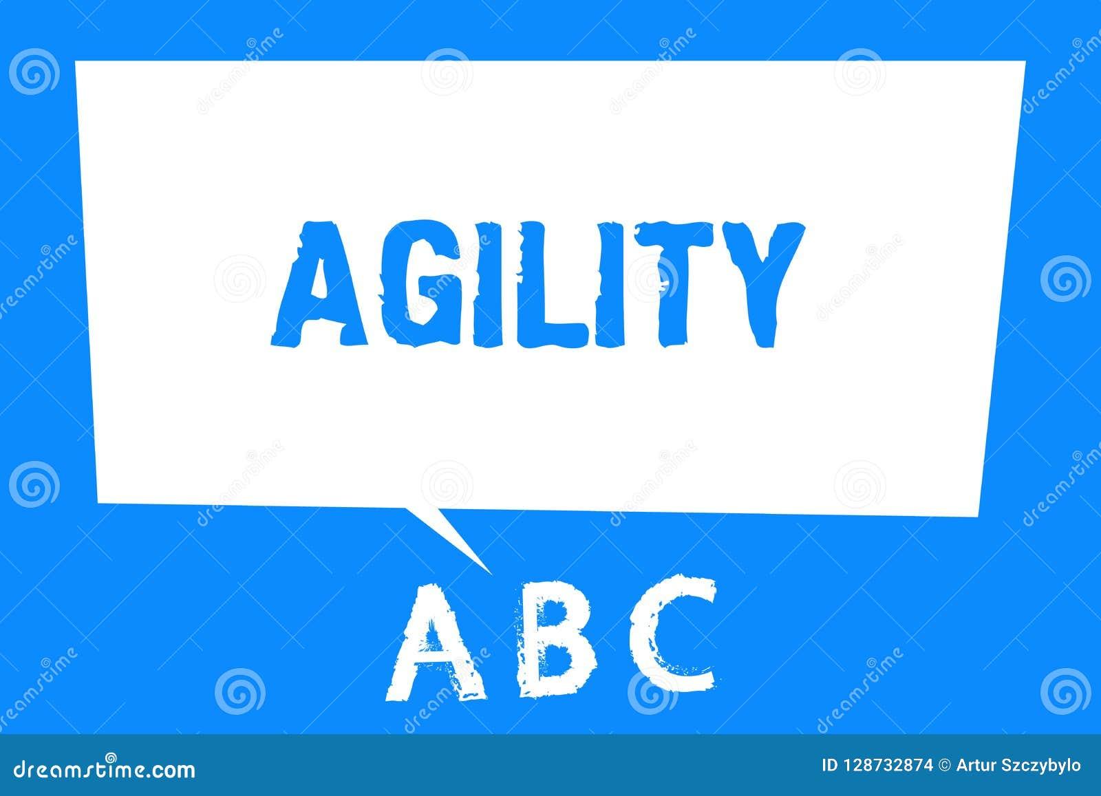 Signe des textes montrant l agilité La capacité conceptuelle de photo de se déplacer pensent comprennent rapidement et facilement