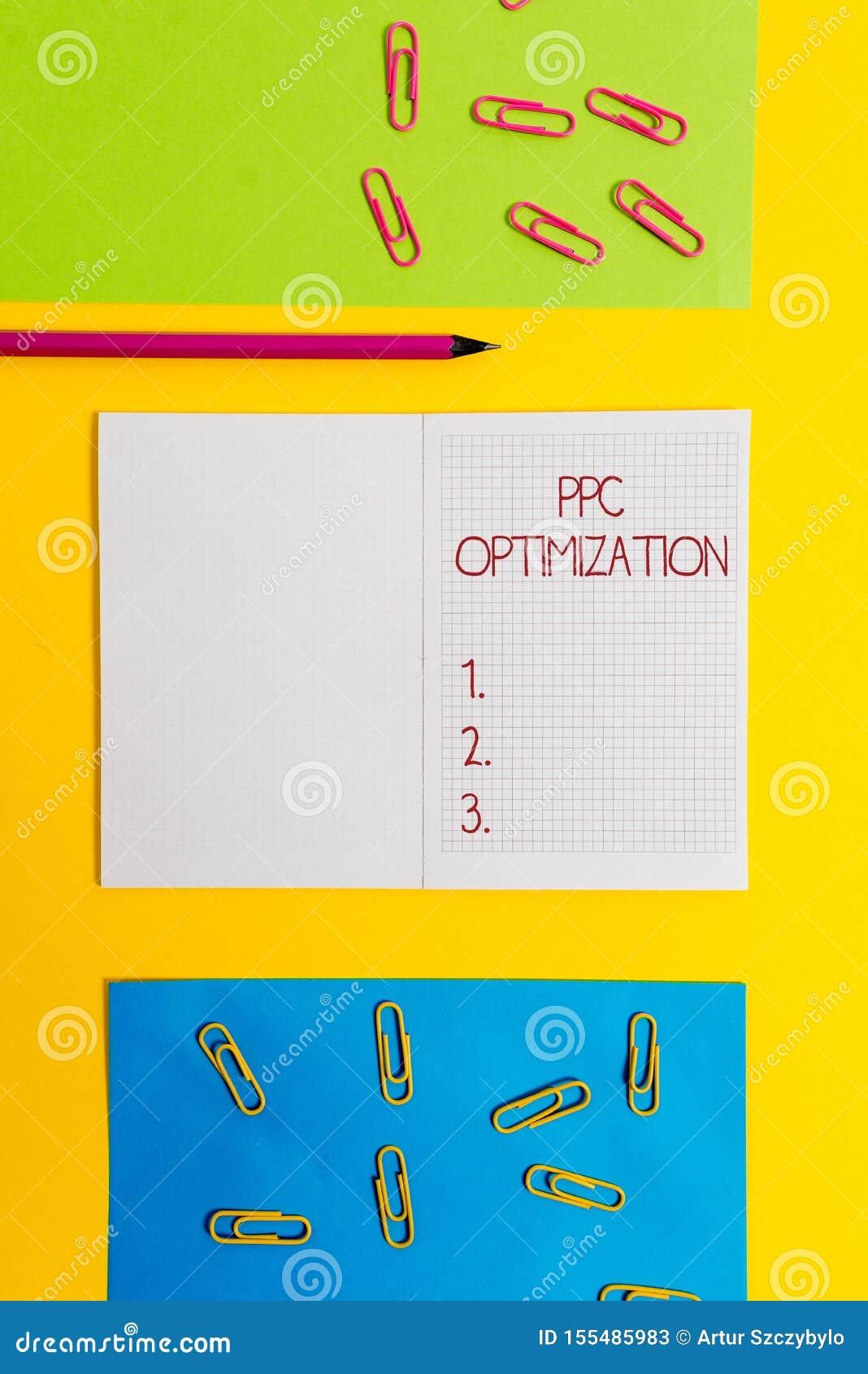 Signe des textes montrant l optimisation de PPC Amélioration conceptuelle de photo de plate-forme de moteur de recherche pour le