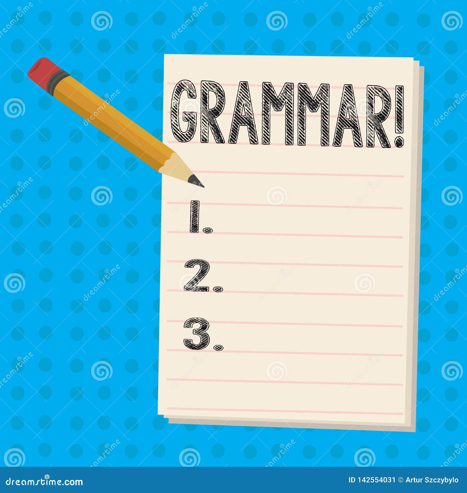 Signe des textes montrant la grammaire Le système de photo et la structure conceptuels des règles d écriture de langue crayonnent