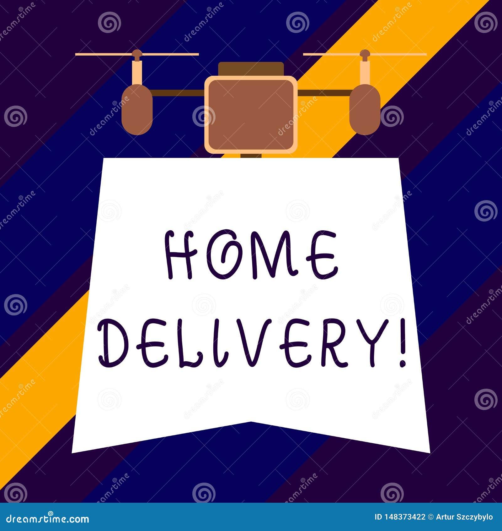 Signe des textes montrant la livraison à domicile Acte conceptuel de photo de prendre les marchandises ou le colis directement au