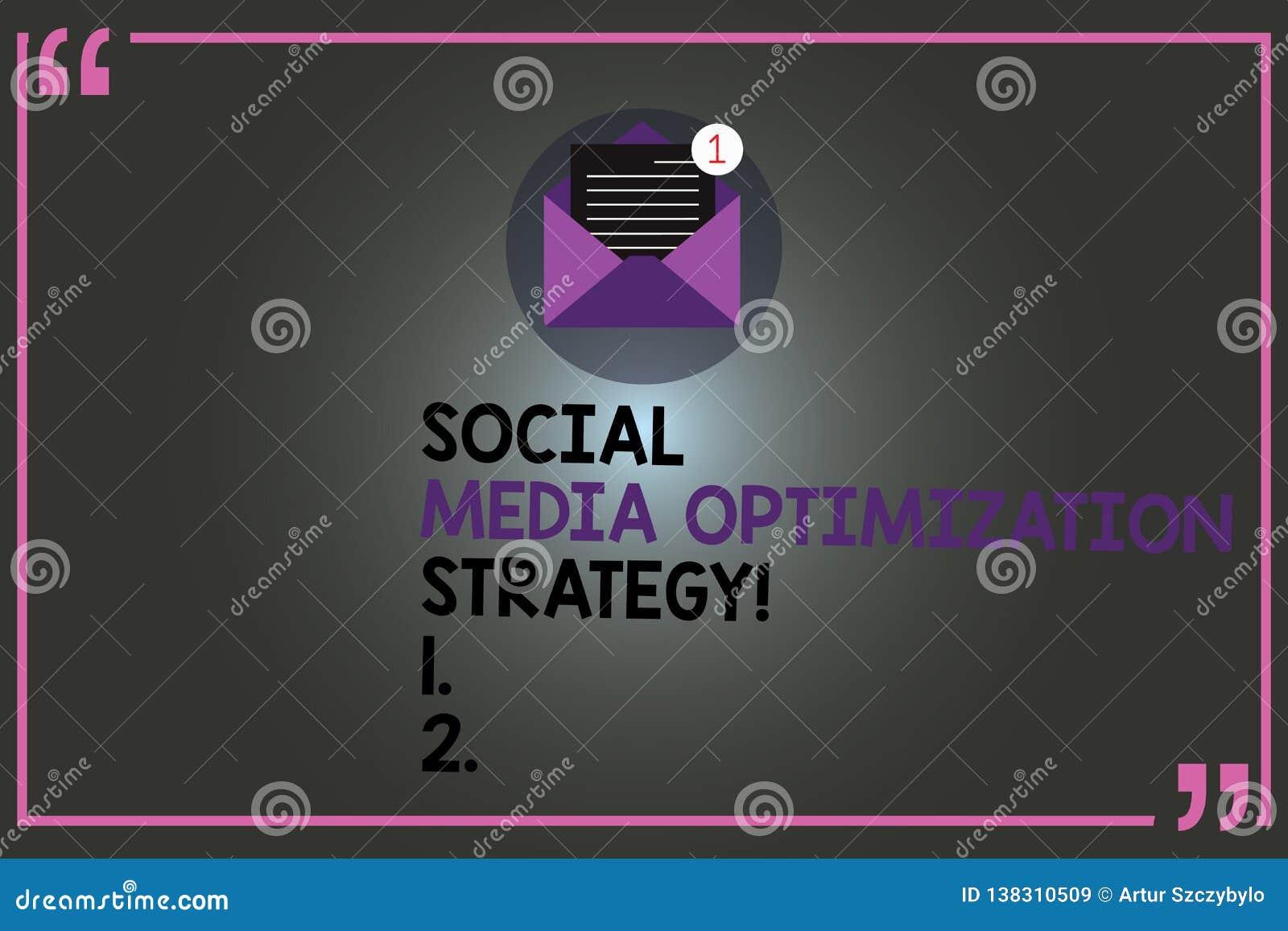 Signe des textes montrant la stratégie d optimisation sociale de médias Stratégies conceptuelles de SEO Advertising Marketing de