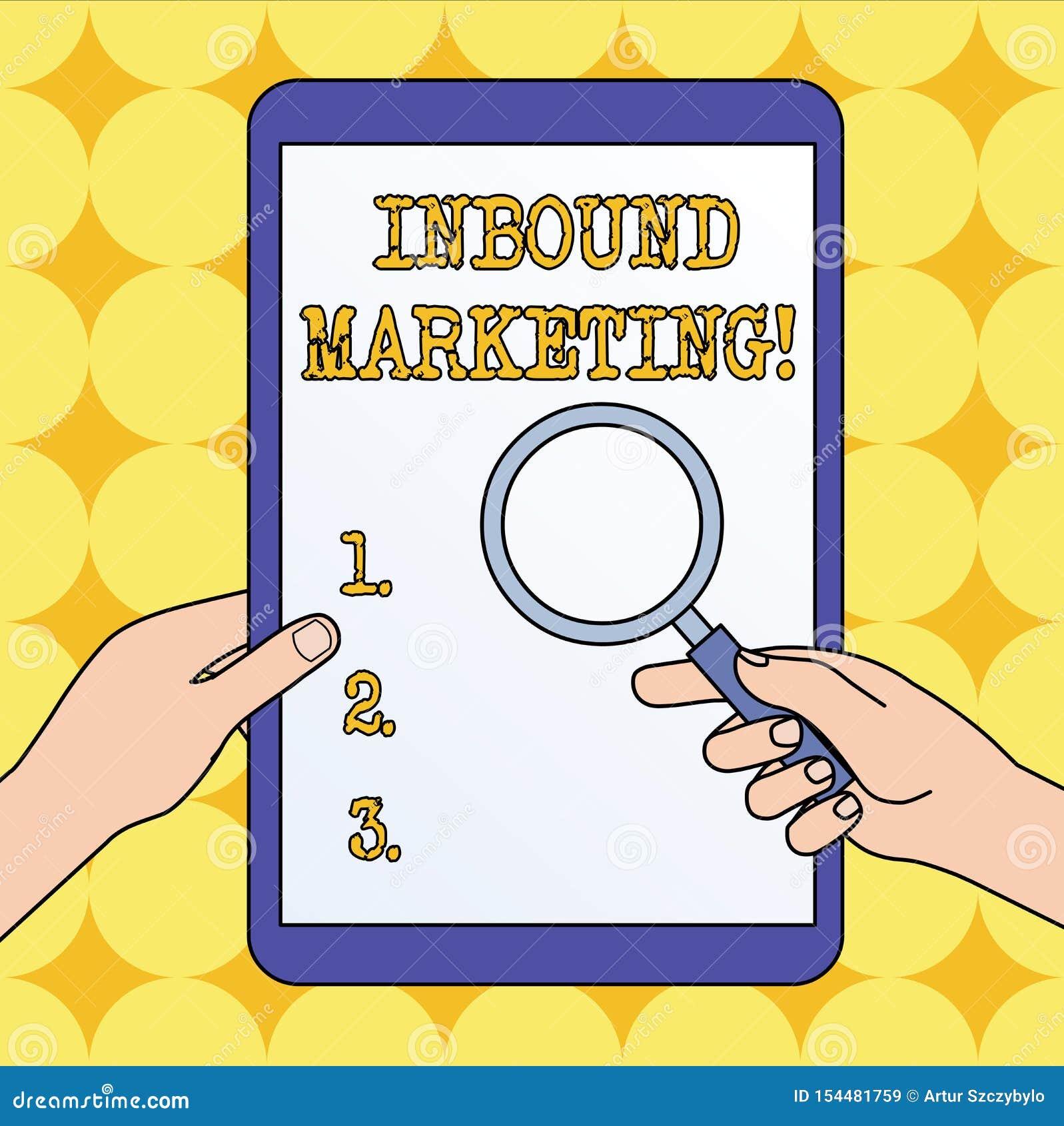 Signe des textes montrant le marketing d arriv?e Photo conceptuelle une stratégie qui se concentre sur attirer des clients ou des