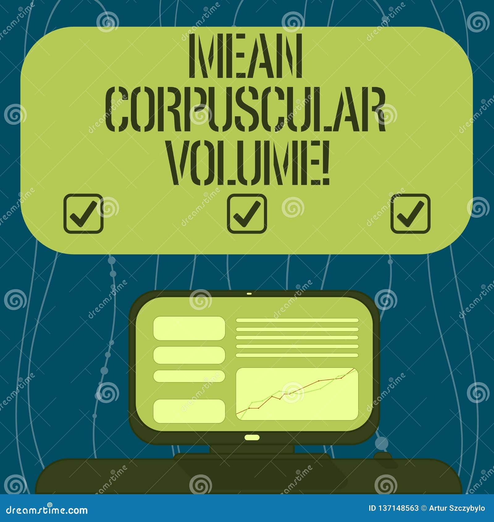 Signe des textes montrant le volume corpusculaire moyen Le volume moyen de photo conceptuelle d une mesure rouge de corpuscule de