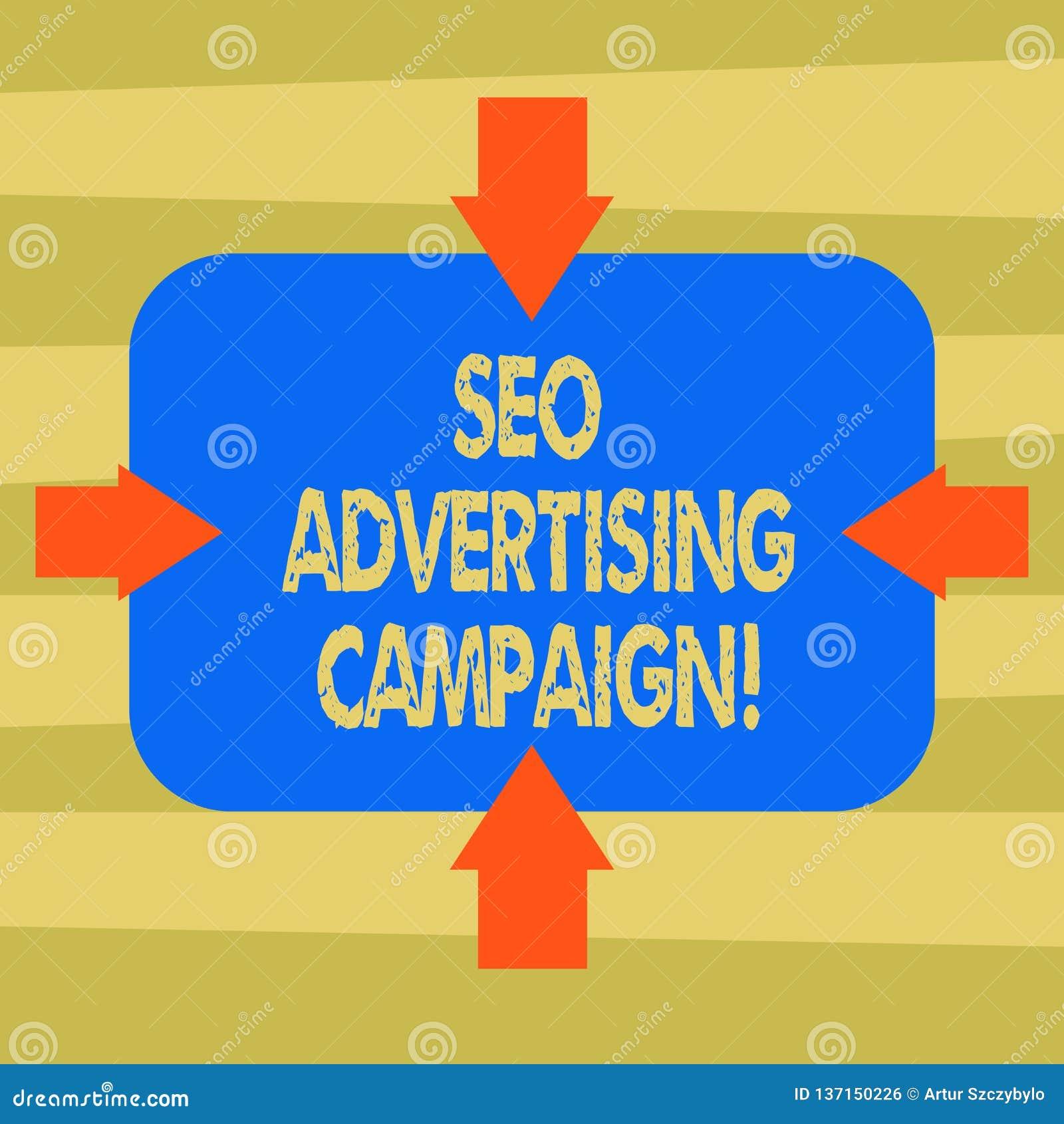 Signe des textes montrant Seo Advertising Campaign Photo conceptuelle favorisant un site pour augmenter le nombre de flèches de l