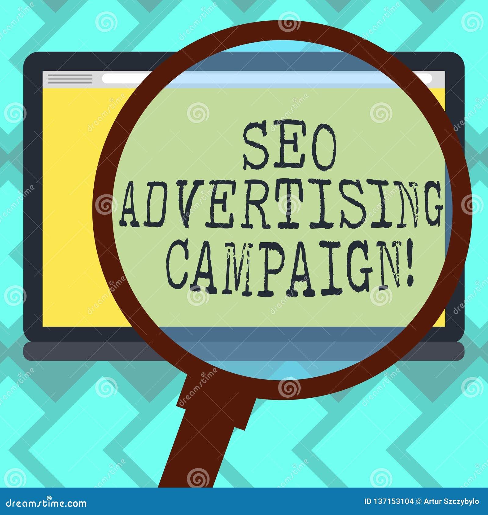 Signe des textes montrant Seo Advertising Campaign Photo conceptuelle favorisant un site pour augmenter le nombre de lien de dos