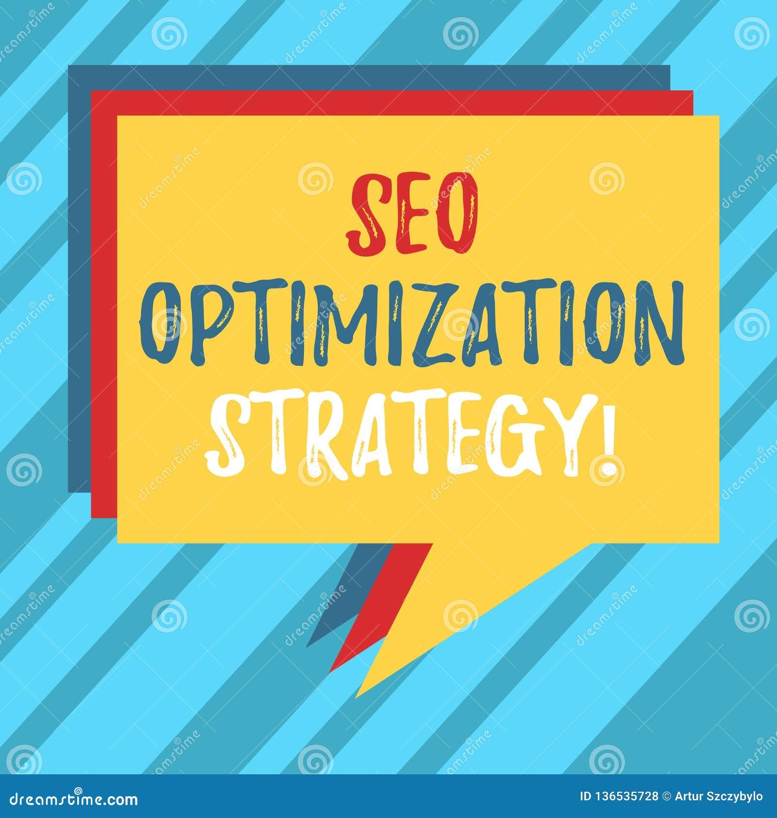 Signe des textes montrant Seo Optimization Strategy Le processus conceptuel de photo d organiser un site Web s est pile satisfait
