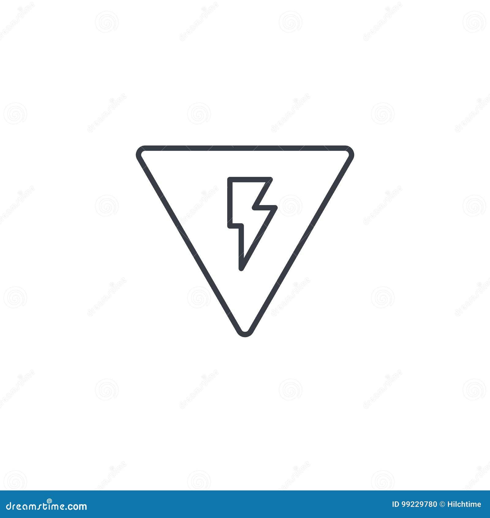 Signe du danger, ligne mince à haute tension icône Symbole linéaire de vecteur