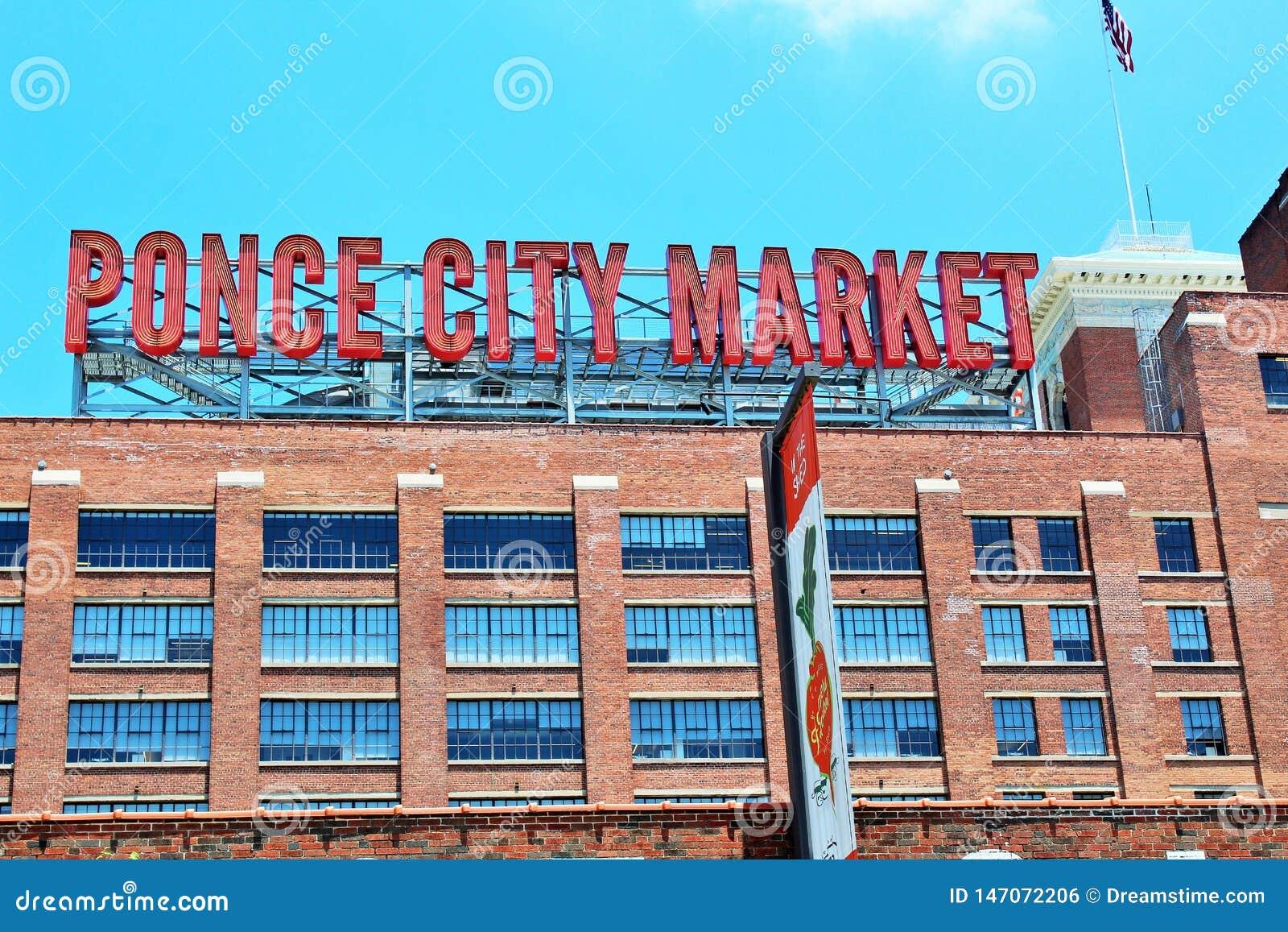 Signe du marché de ville de maquereau d Atlanta, la Géorgie juin 2018 -