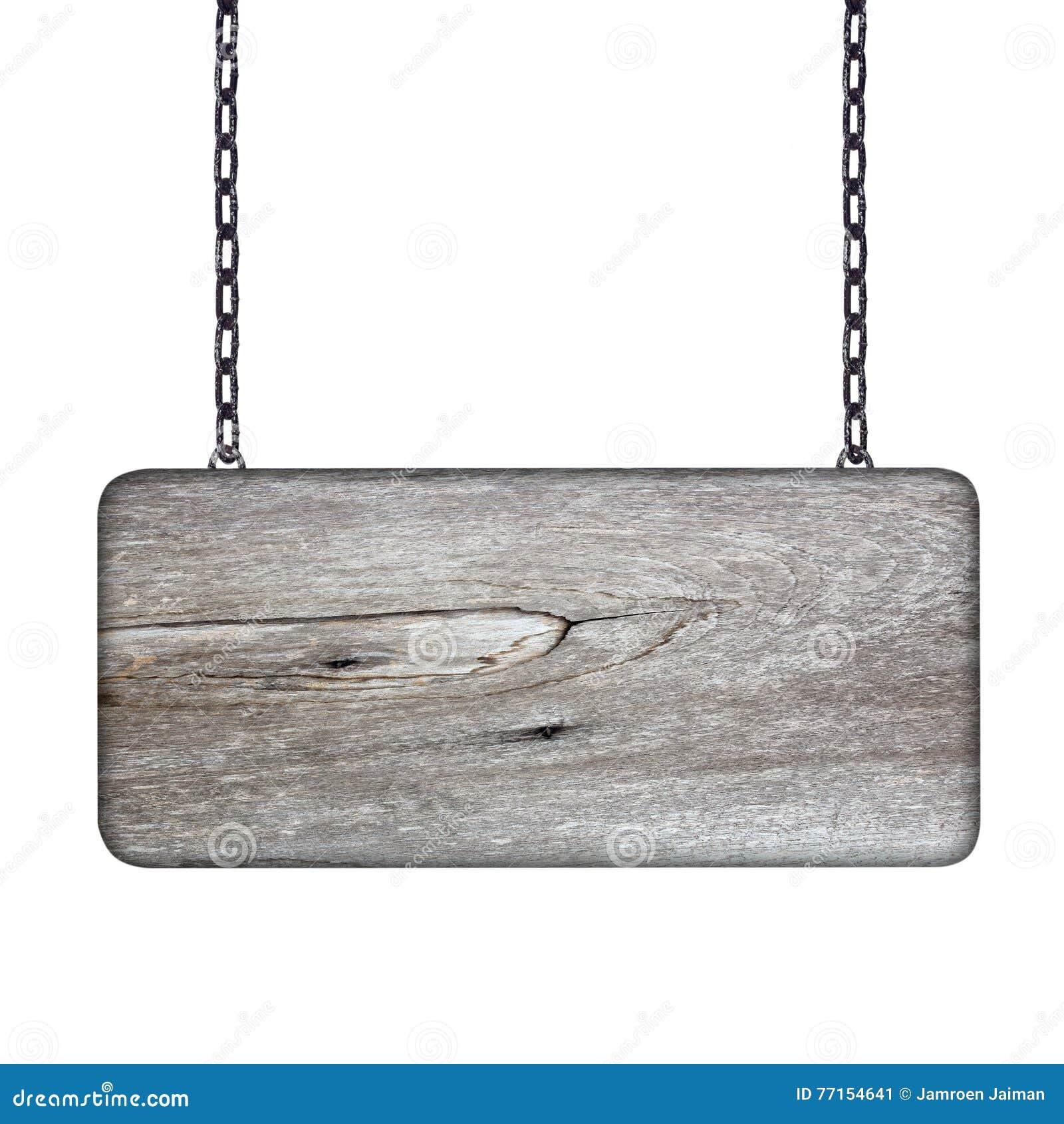 Signe en bois avec la chaîne sur le fond blanc