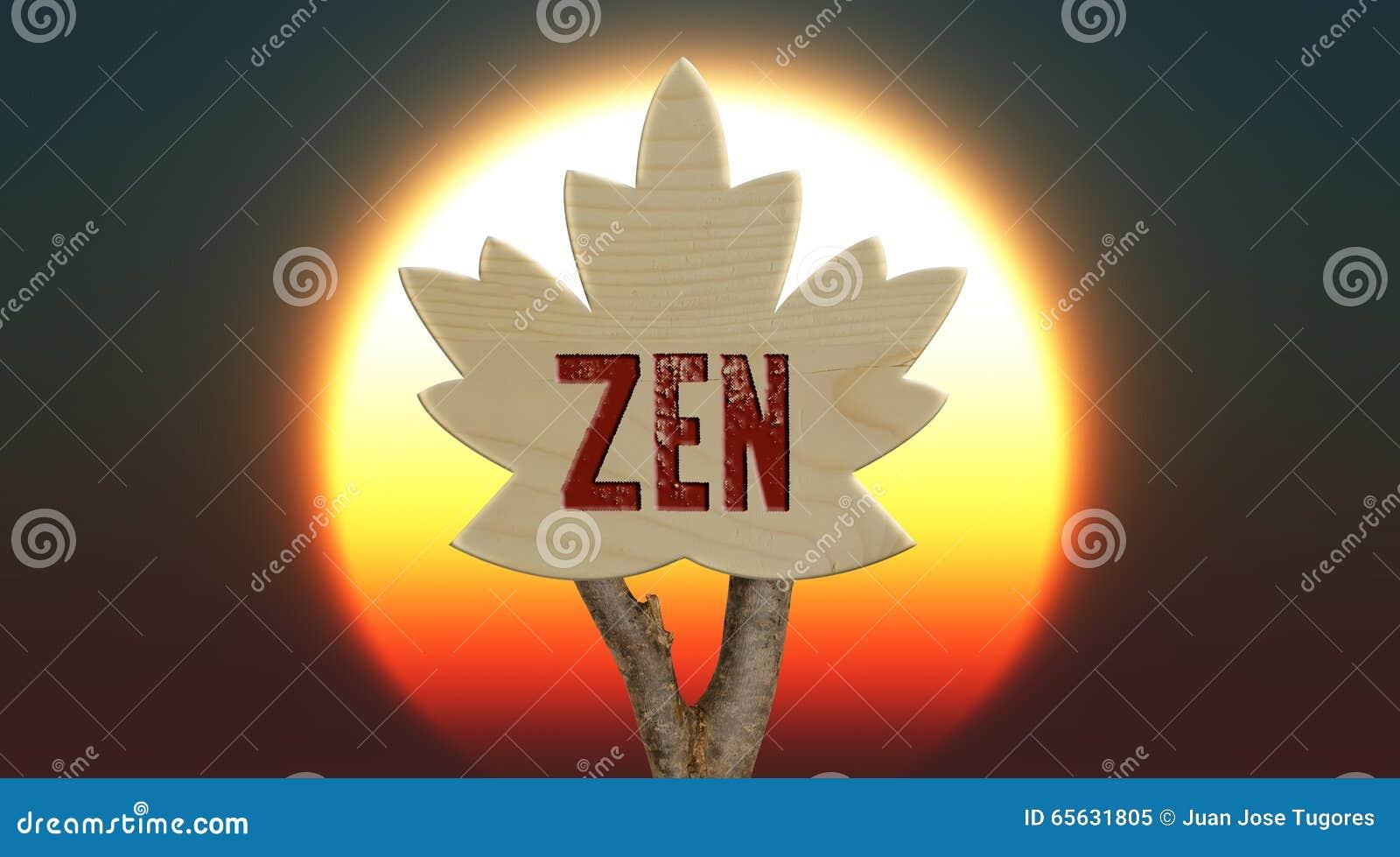 Signe en bois indiquant le zen