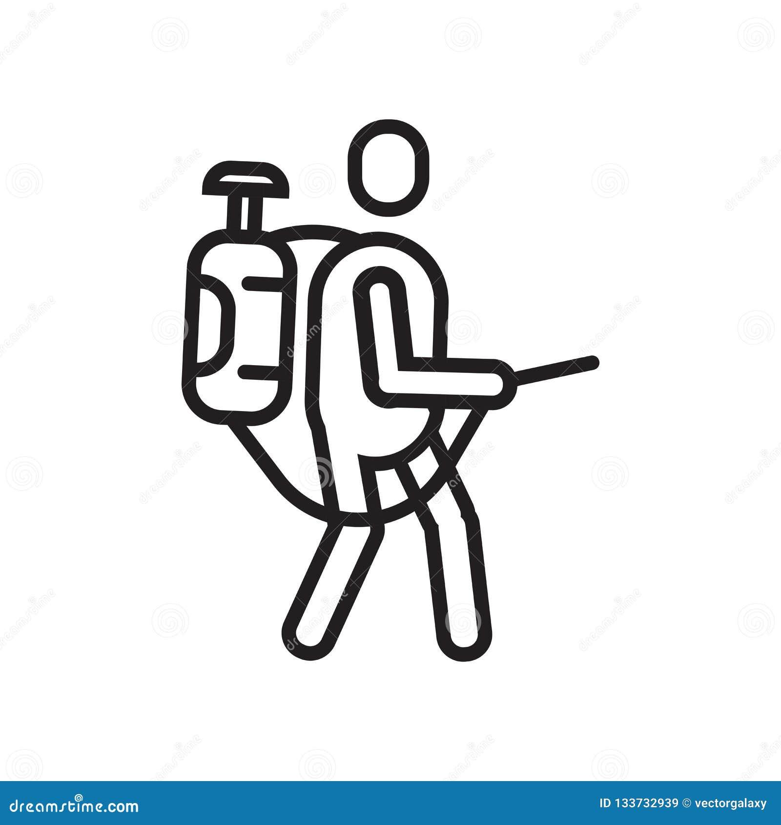 Signe et symbole de pulvérisation de vecteur d icône d isolement sur le backgroun blanc