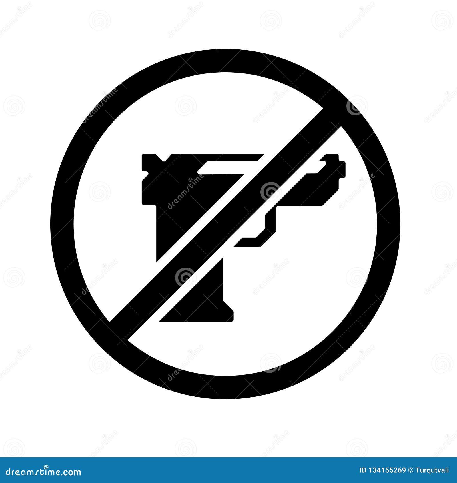 Signe et symbole de vecteur d icône d arme à feu d isolement sur le fond blanc, concept de logo d arme à feu