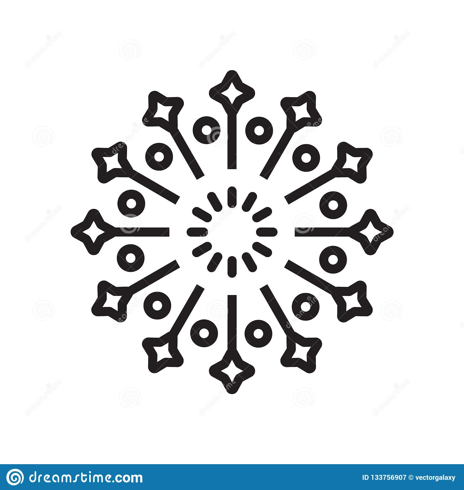 Signe et symbole de vecteur d icône de feux d artifice d isolement sur le fond blanc, concept de logo de feux d artifice