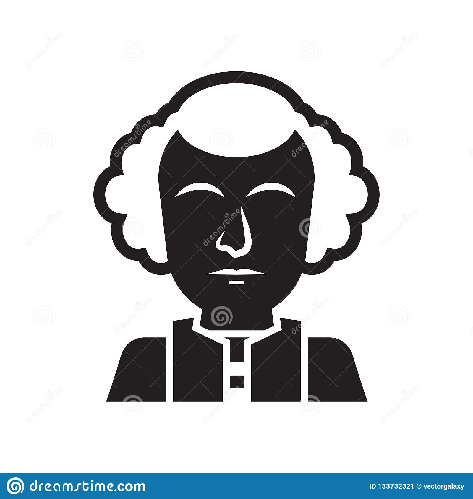 Signe et symbole de vecteur d icône de George Washington d isolement sur le blanc