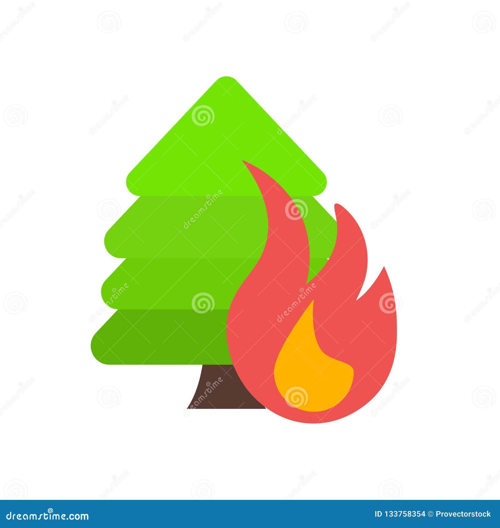 Signe et symbole de vecteur d icône d incendie de forêt d isolement sur le backgr blanc