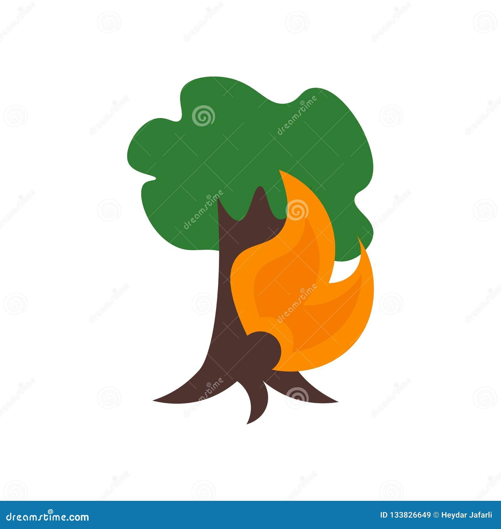 Signe et symbole de vecteur d icône d incendie de forêt d isolement sur le fond blanc, concept de logo d incendie de forêt