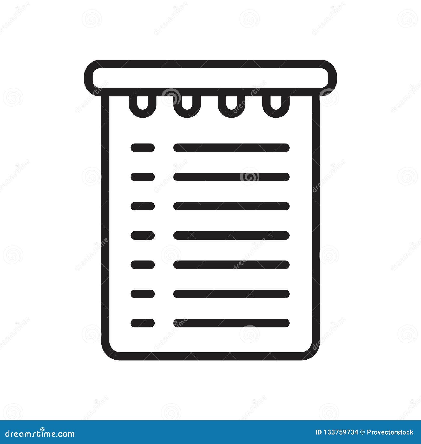 Signe et symbole de vecteur d icône de liste d achats d isolement sur le dos blanc